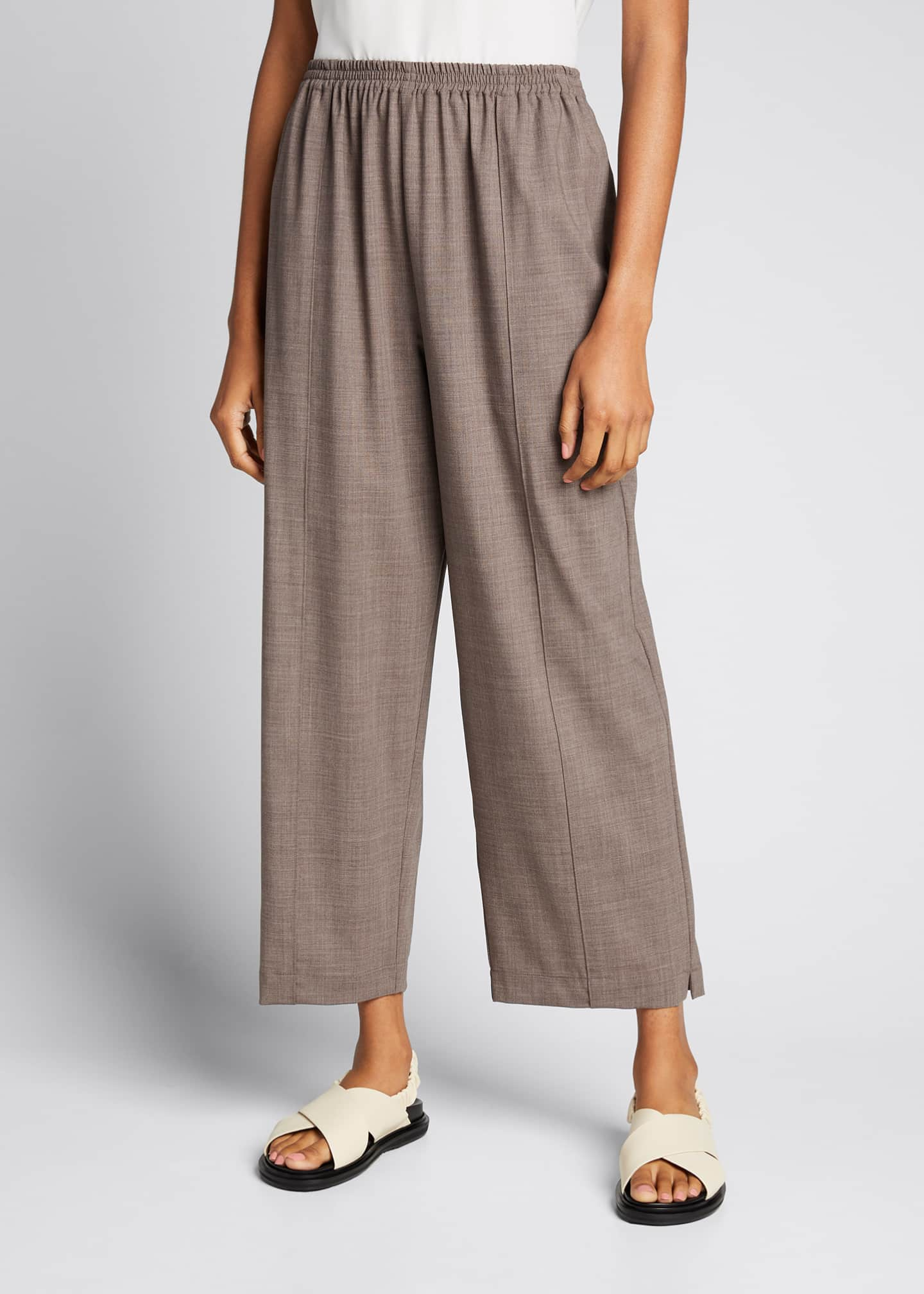 Image 3 of 5: Wool-Silk Relaxed Ankle Pants