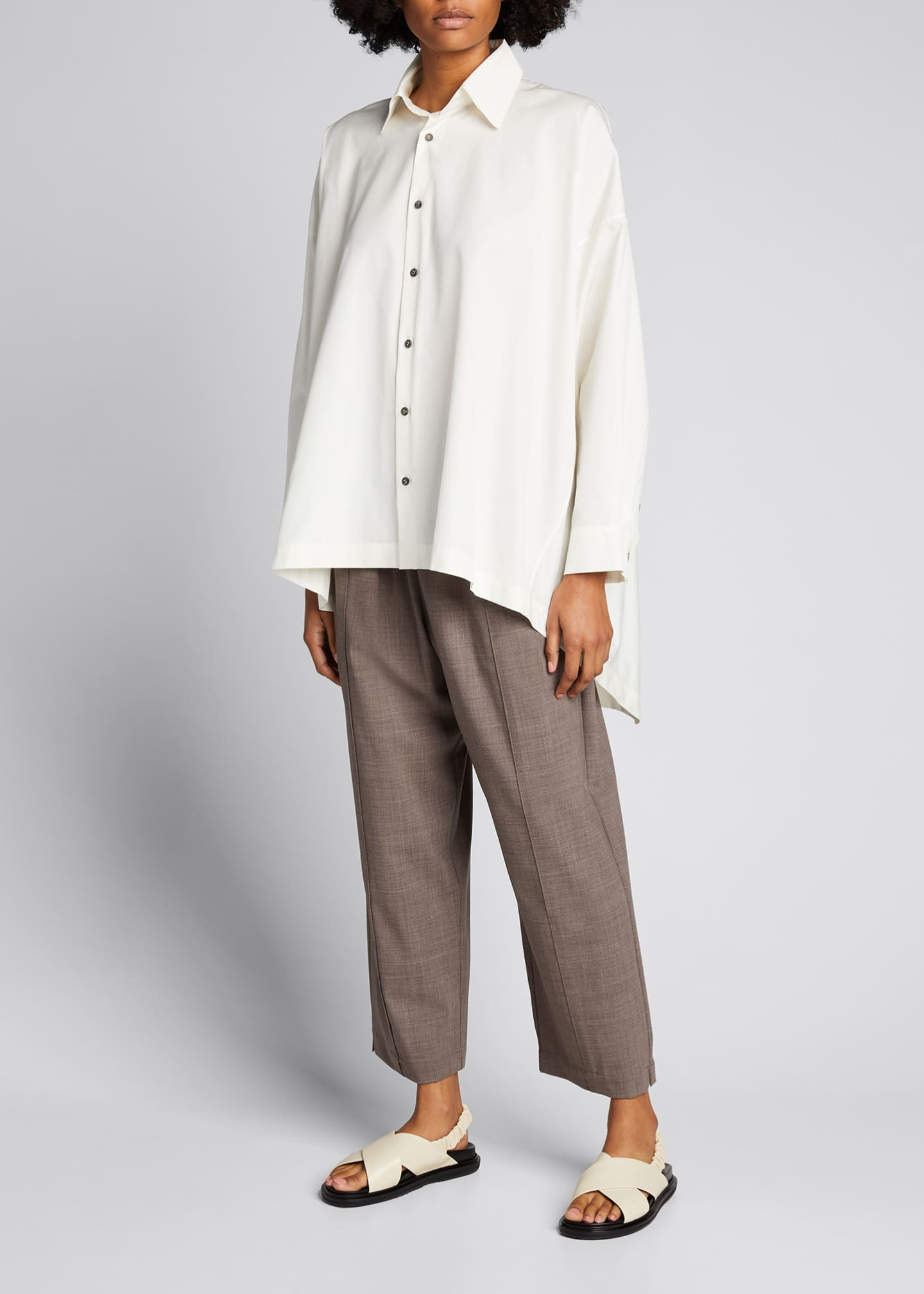 Image 1 of 5: Wool-Silk Relaxed Ankle Pants