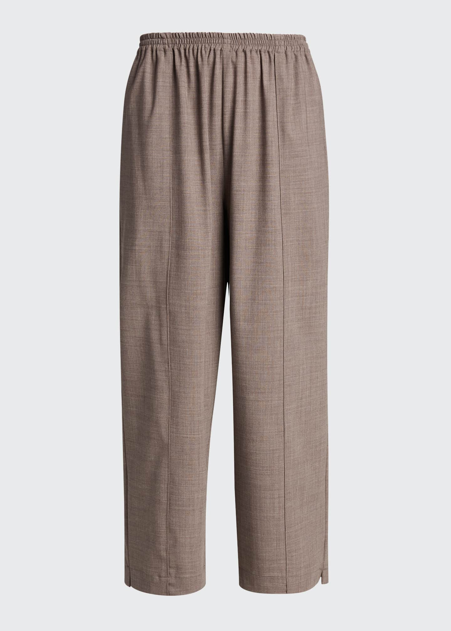 Image 5 of 5: Wool-Silk Relaxed Ankle Pants