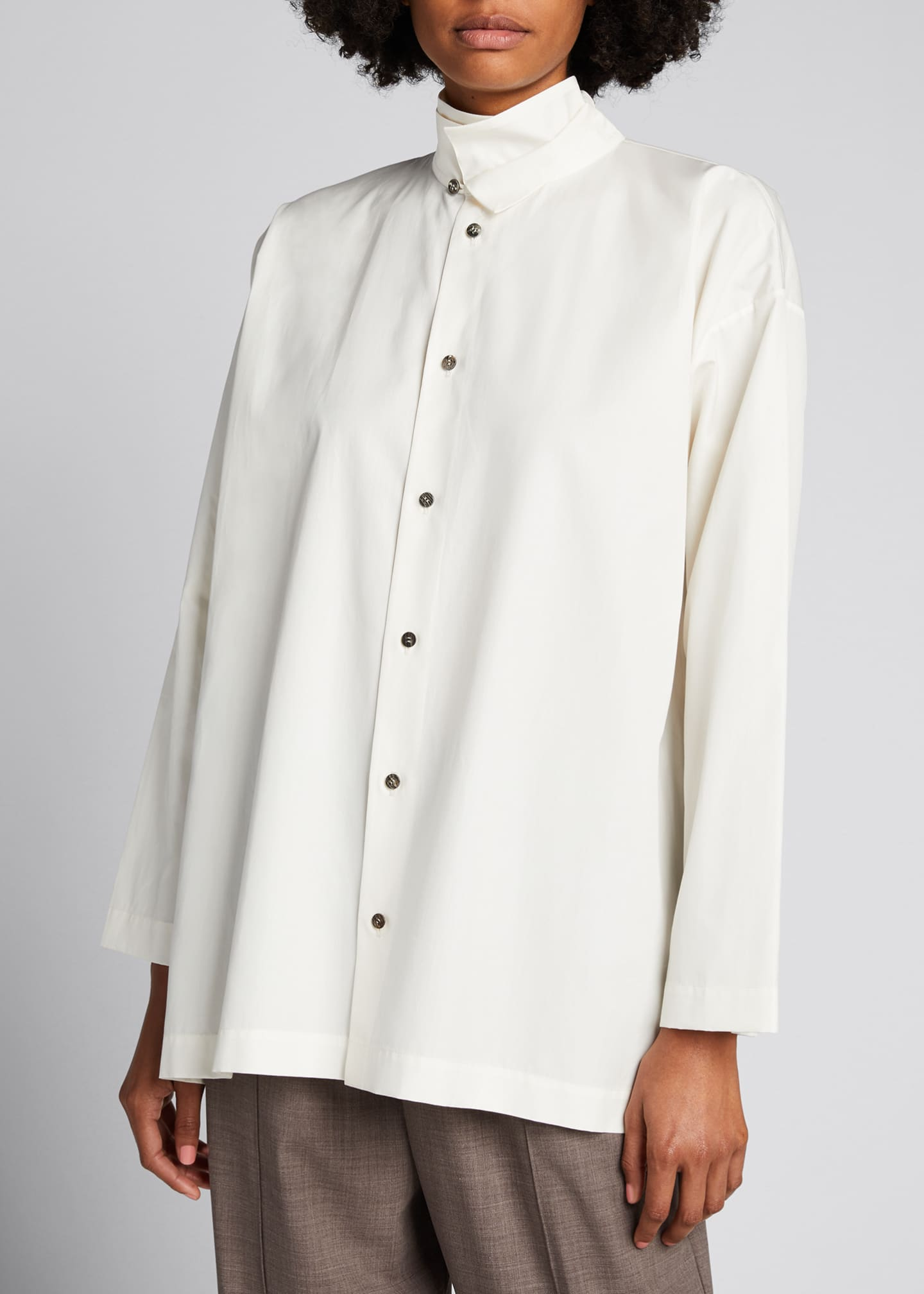 Image 3 of 5: Double-Collar A-Line Cotton Shirt