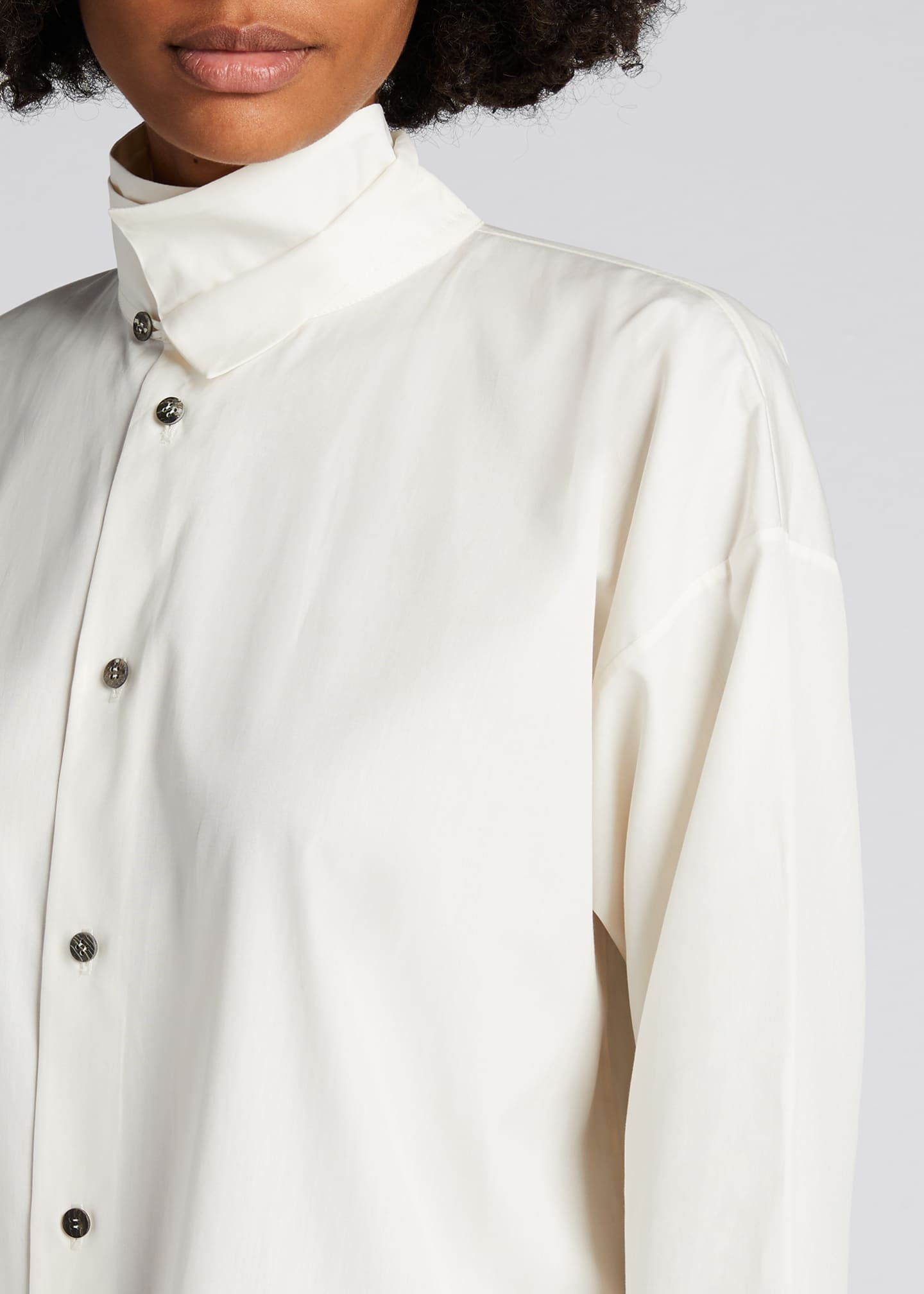 Image 4 of 5: Double-Collar A-Line Cotton Shirt