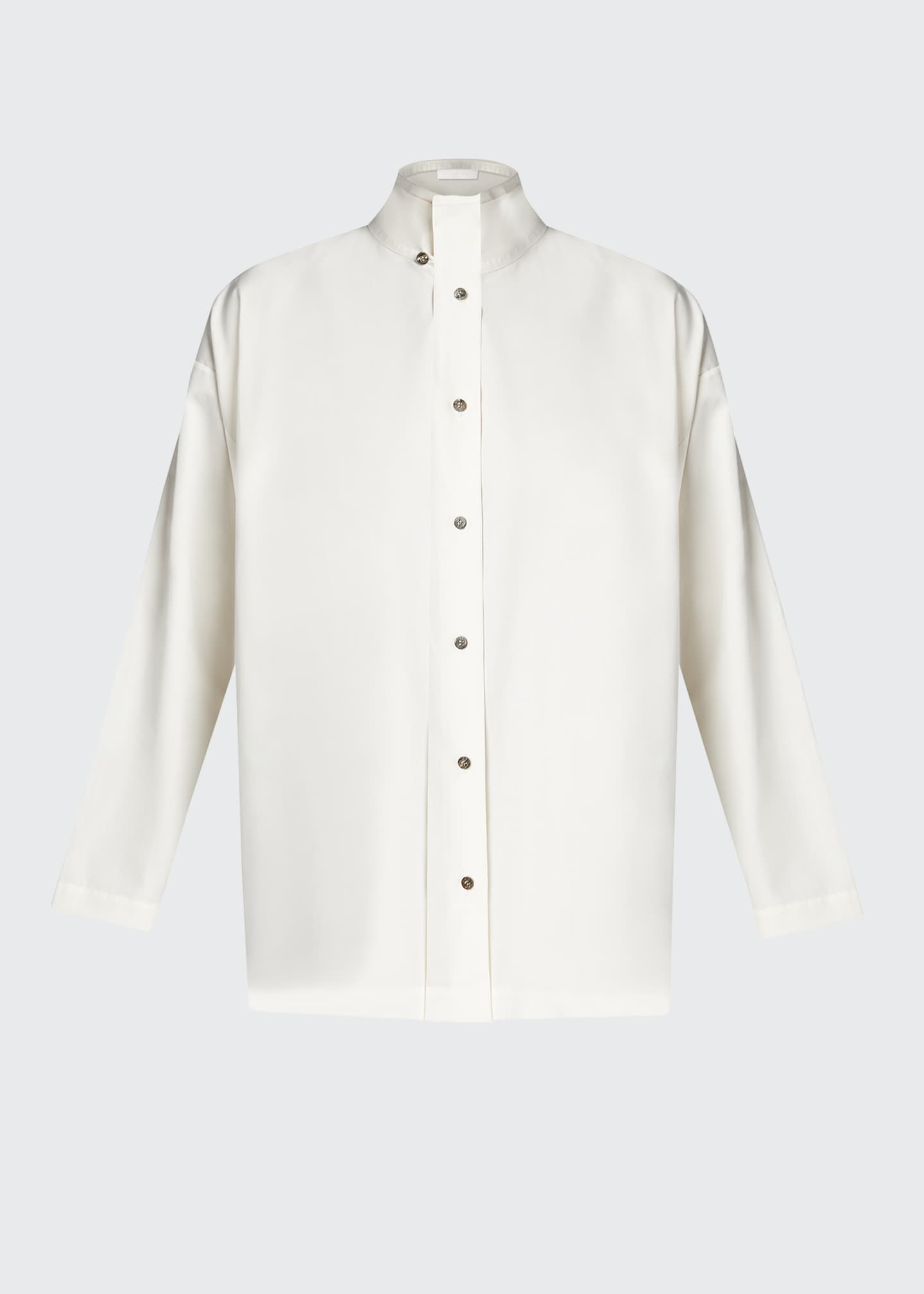 Image 5 of 5: Double-Collar A-Line Cotton Shirt