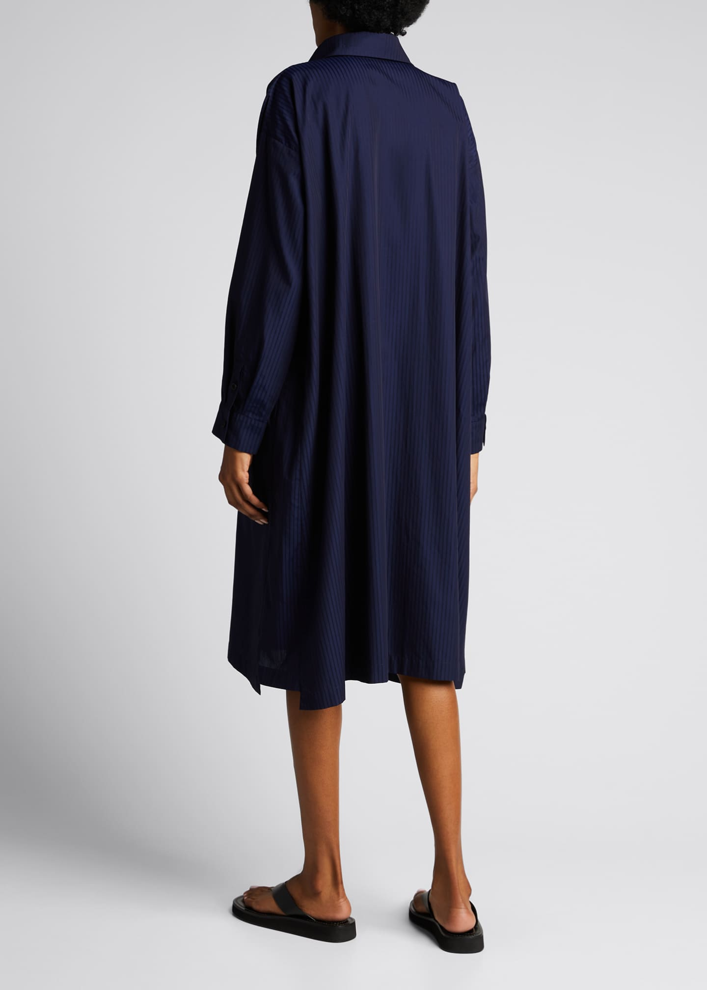 Image 2 of 5: Tonal Stripe Slim A-Line Shirtdress