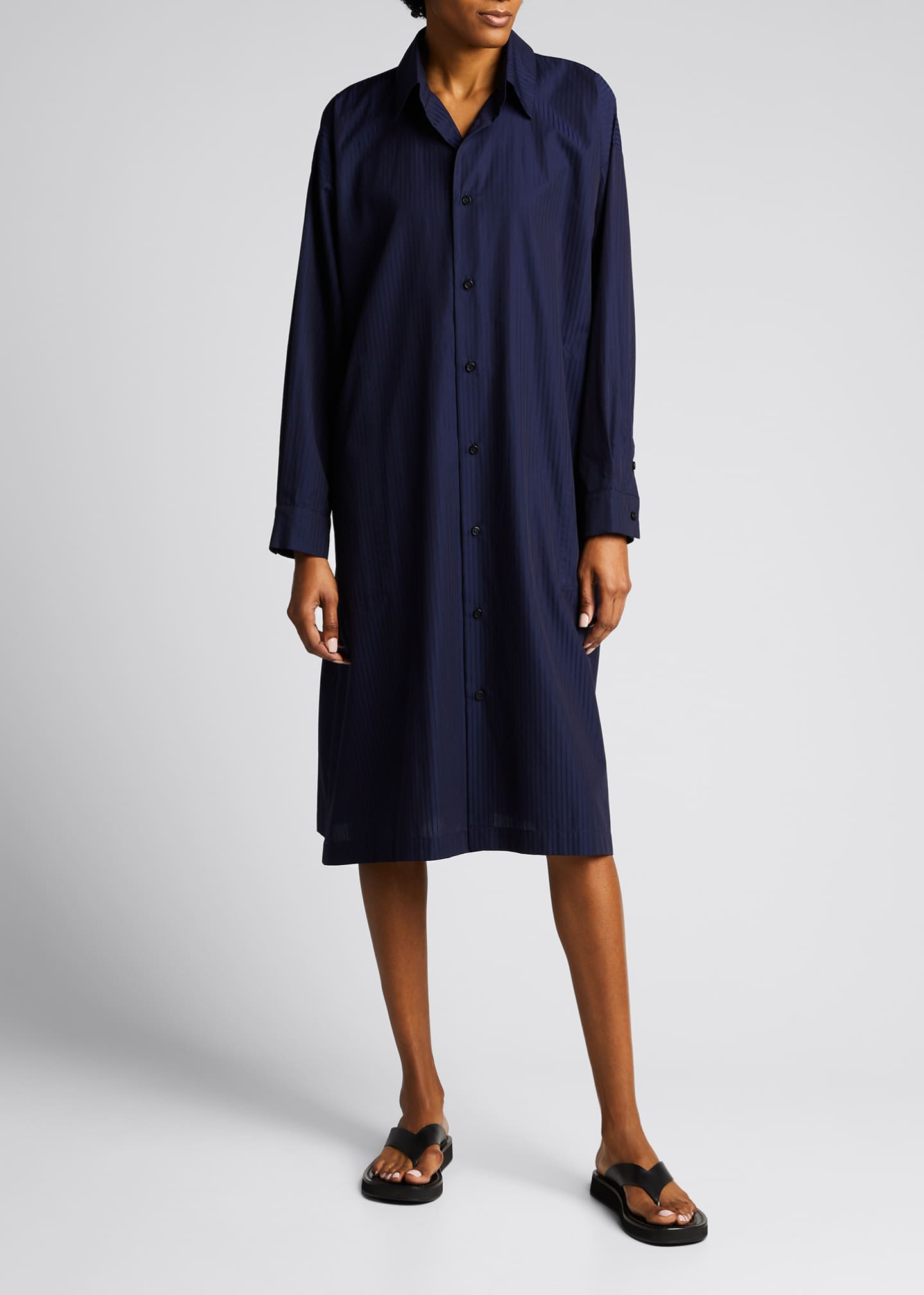 Image 3 of 5: Tonal Stripe Slim A-Line Shirtdress