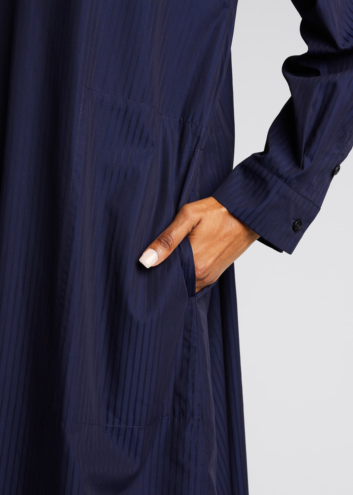 Image 4 of 5: Tonal Stripe Slim A-Line Shirtdress