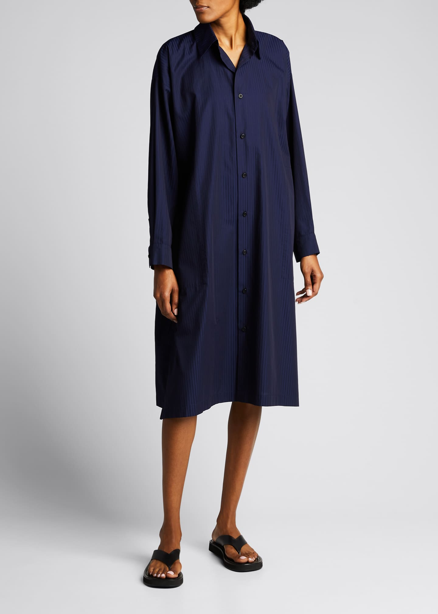 Image 1 of 5: Tonal Stripe Slim A-Line Shirtdress