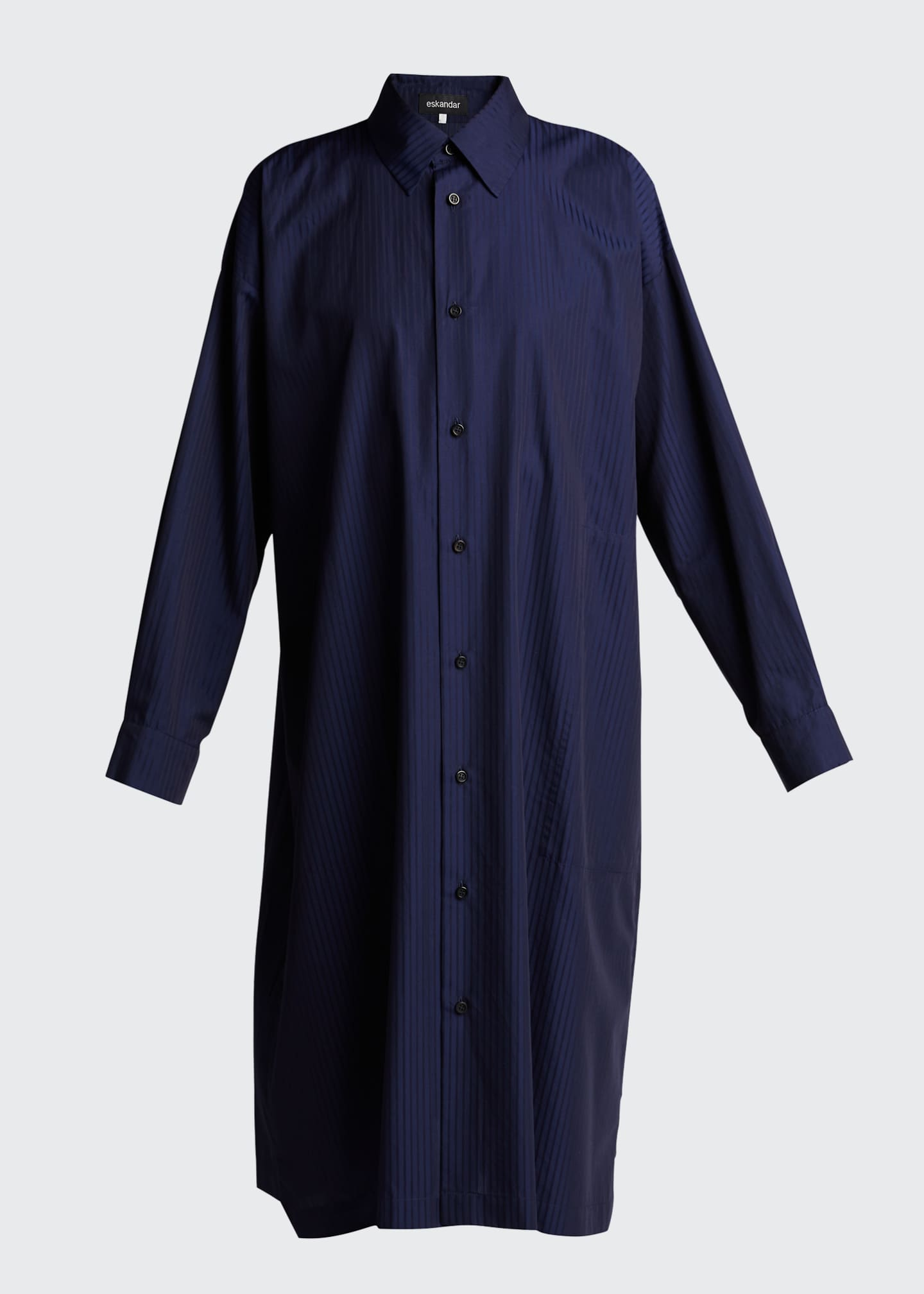 Image 5 of 5: Tonal Stripe Slim A-Line Shirtdress