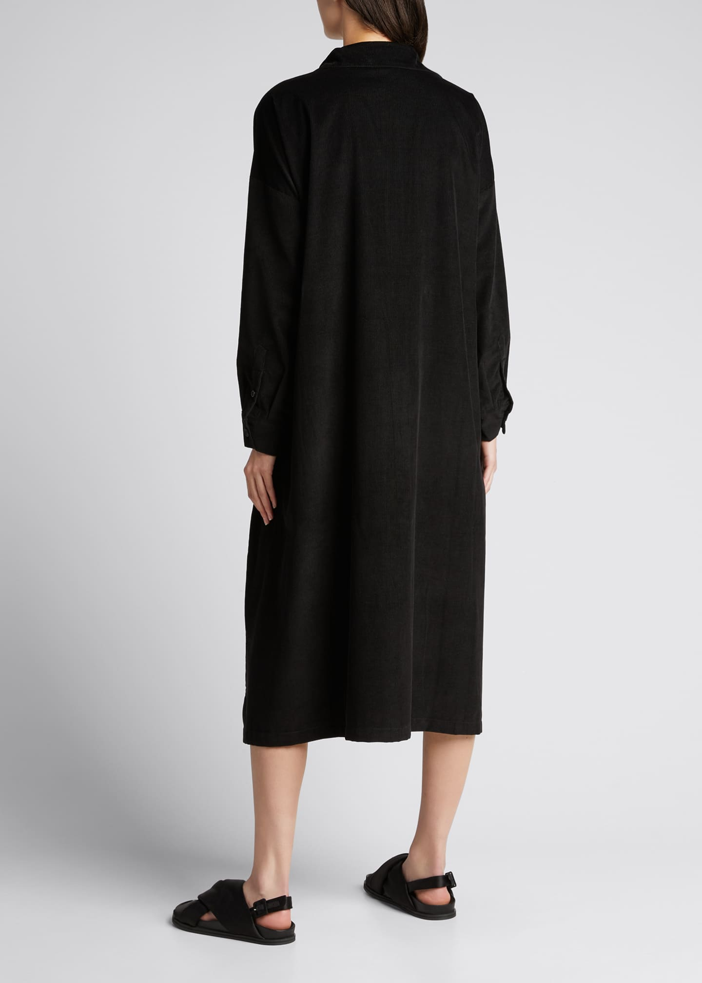 Image 2 of 5: Wide Button-Down Cotton A-Line Dress