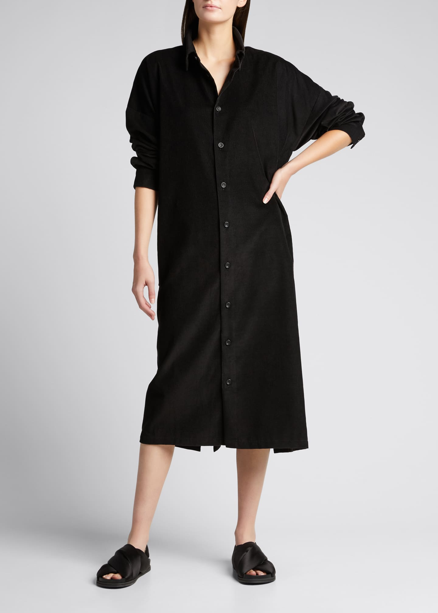 Image 3 of 5: Wide Button-Down Cotton A-Line Dress