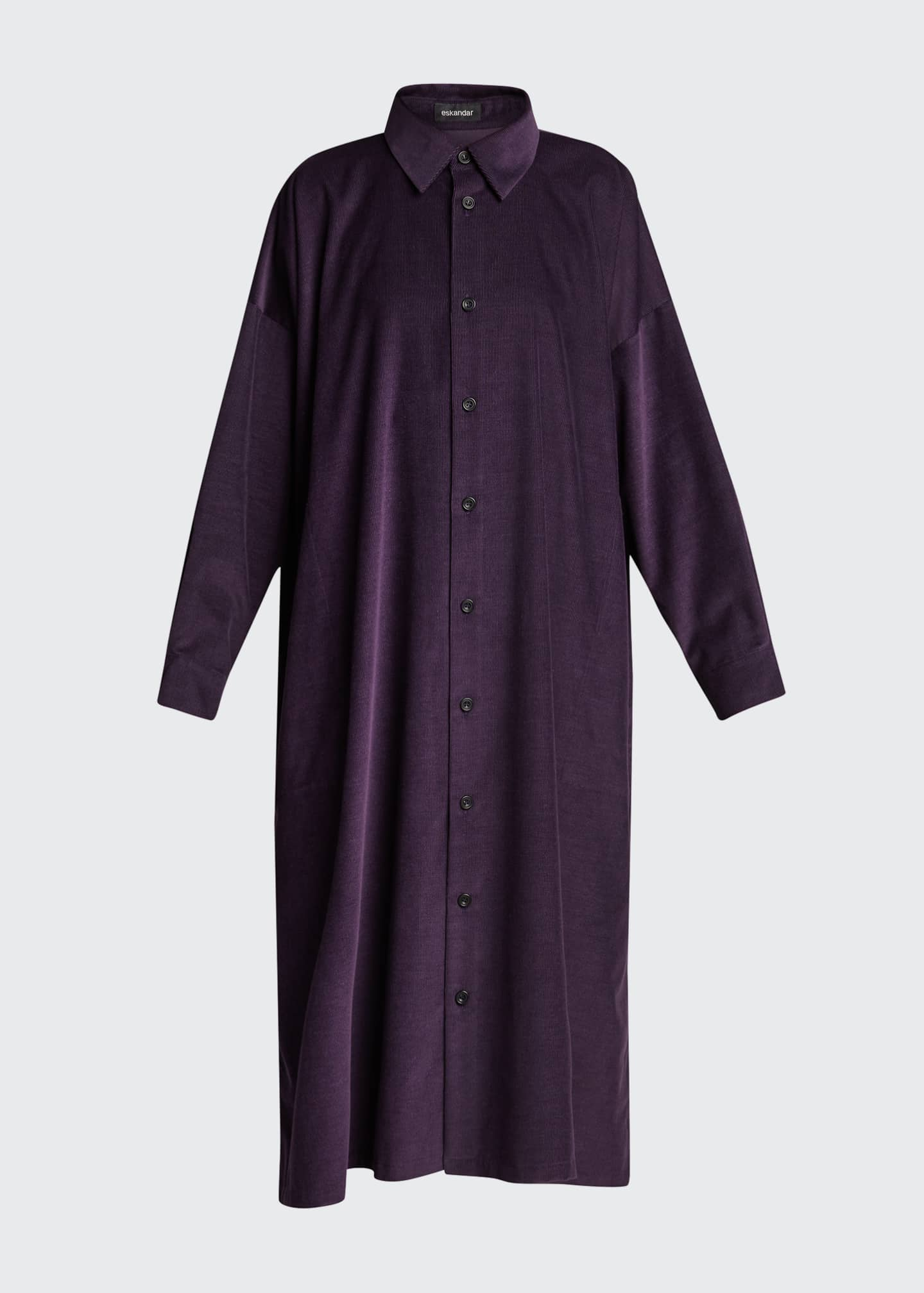 Image 5 of 5: Wide Button-Down Cotton A-Line Dress