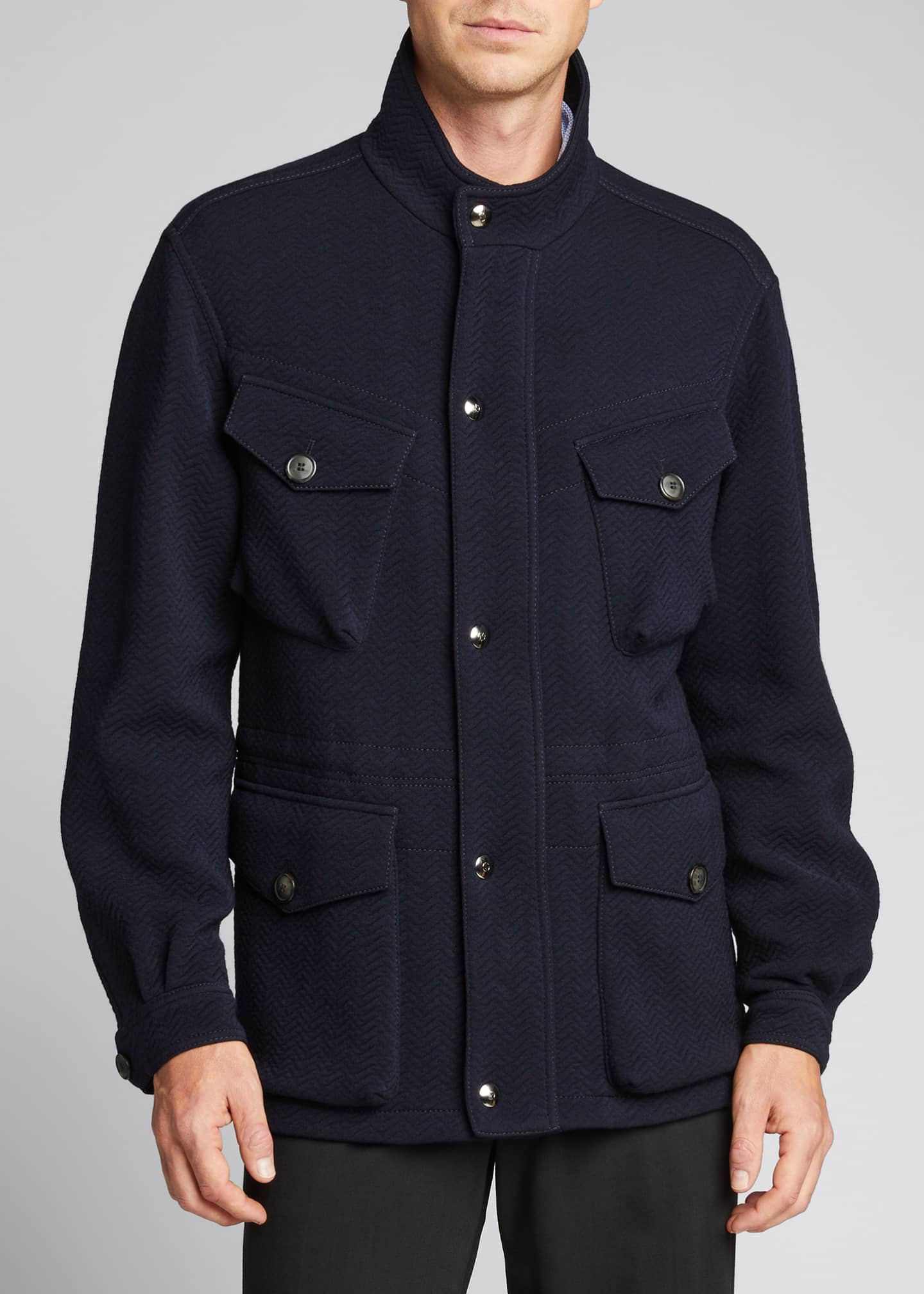 Image 3 of 5: Men's Herringbone Wool-Blend Field Jacket