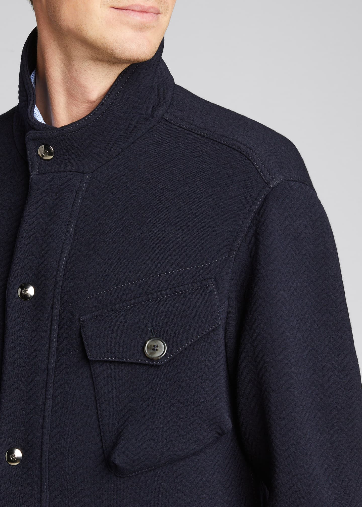 Image 4 of 5: Men's Herringbone Wool-Blend Field Jacket