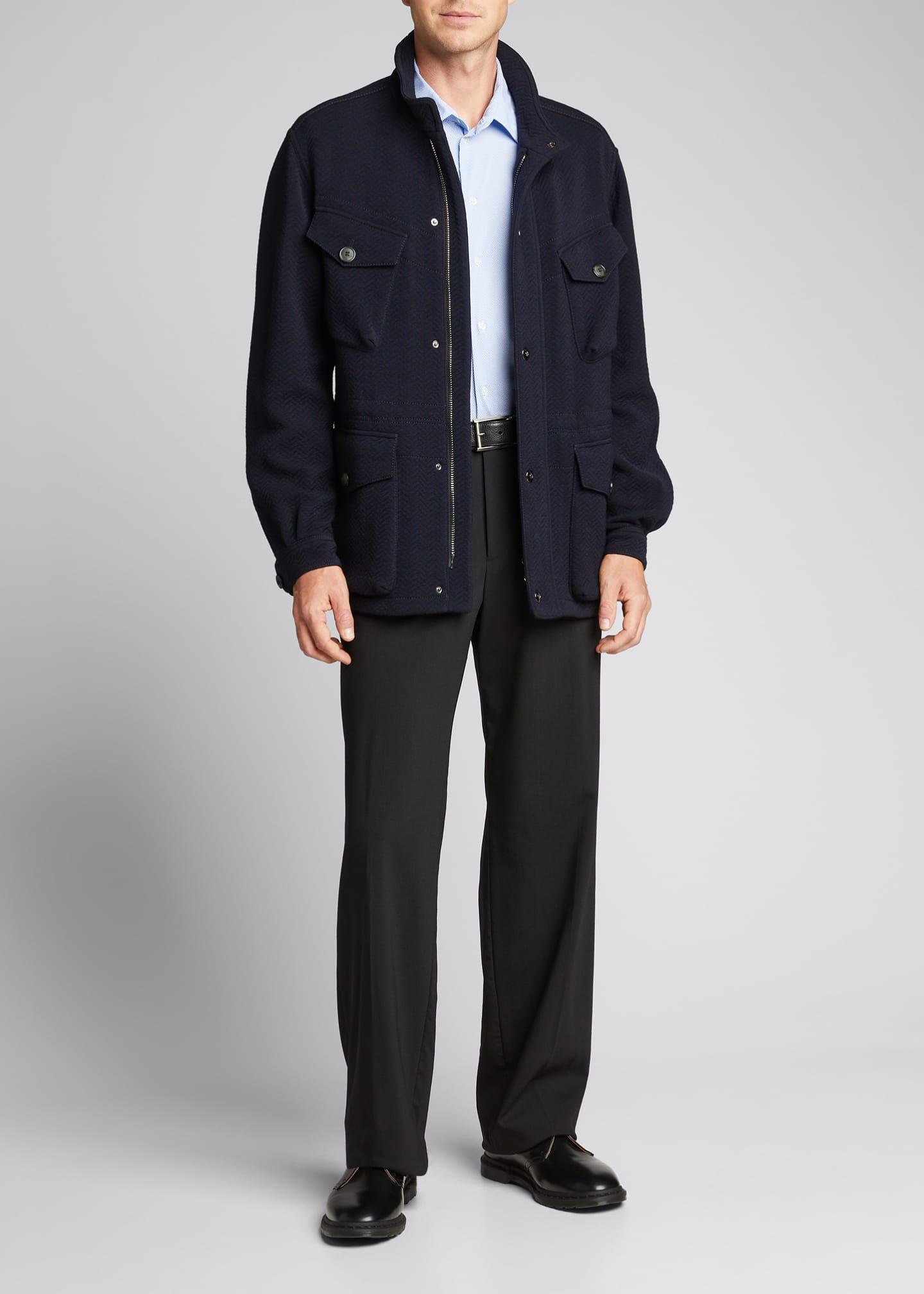 Image 1 of 5: Men's Herringbone Wool-Blend Field Jacket