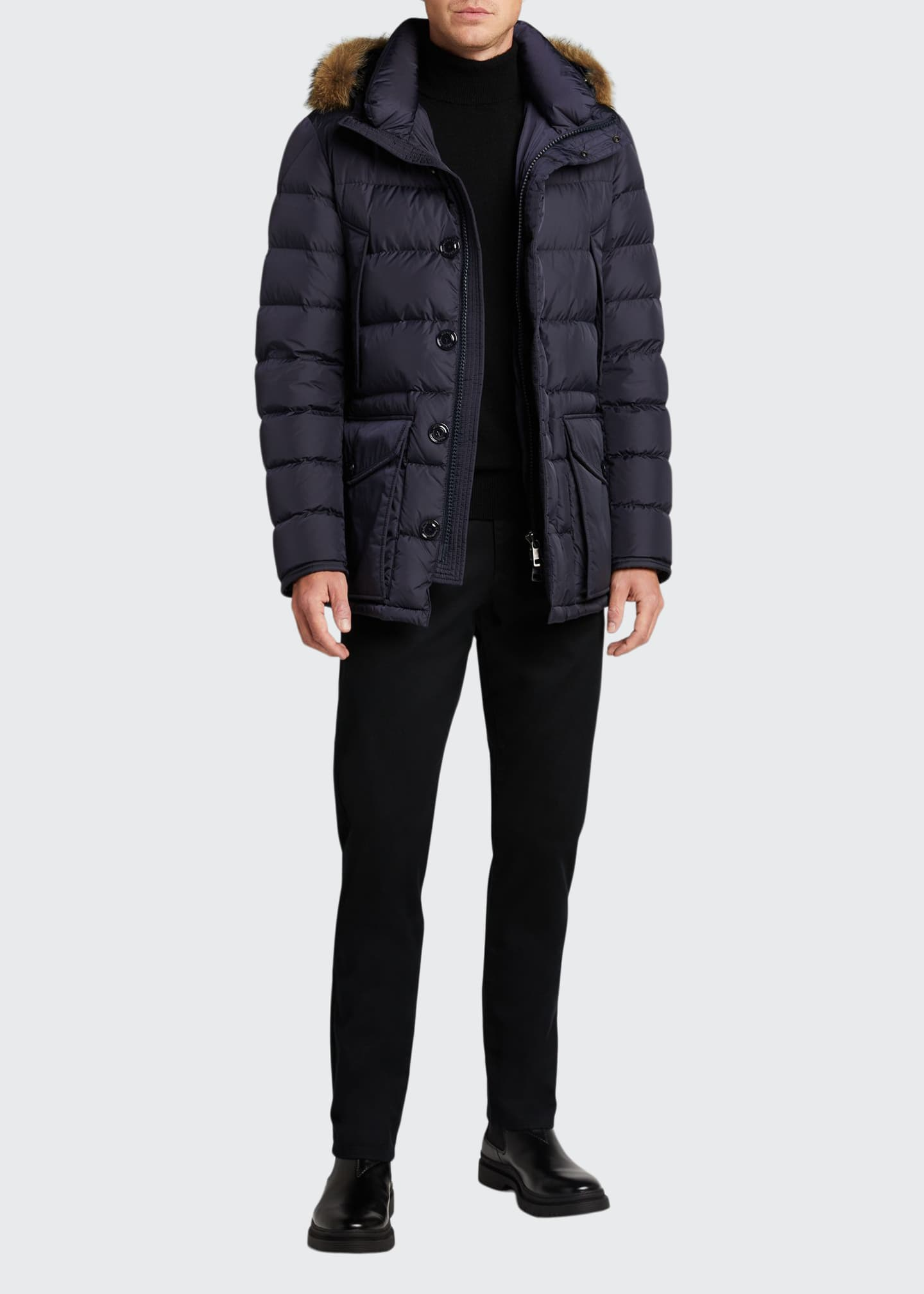 Image 1 of 5: Men's Cluny Quilted Puffer Jacket w/ Fur Trim