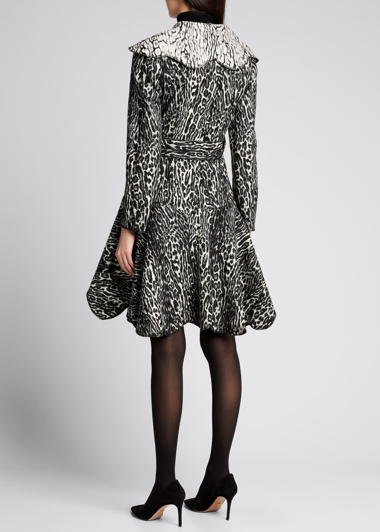 Image 2 of 5: Leopard Scallop Belted Wool Coat