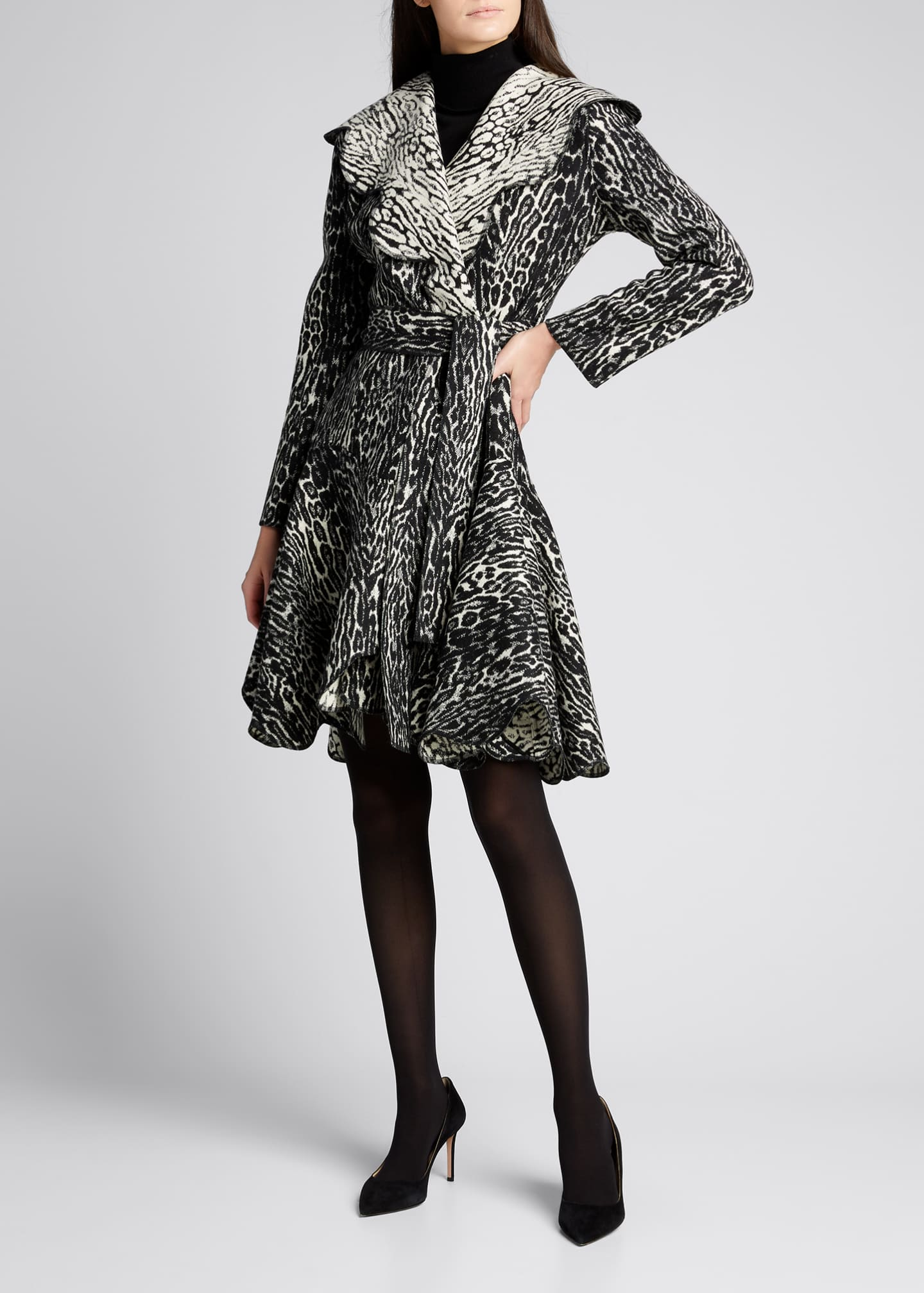 Image 3 of 5: Leopard Scallop Belted Wool Coat