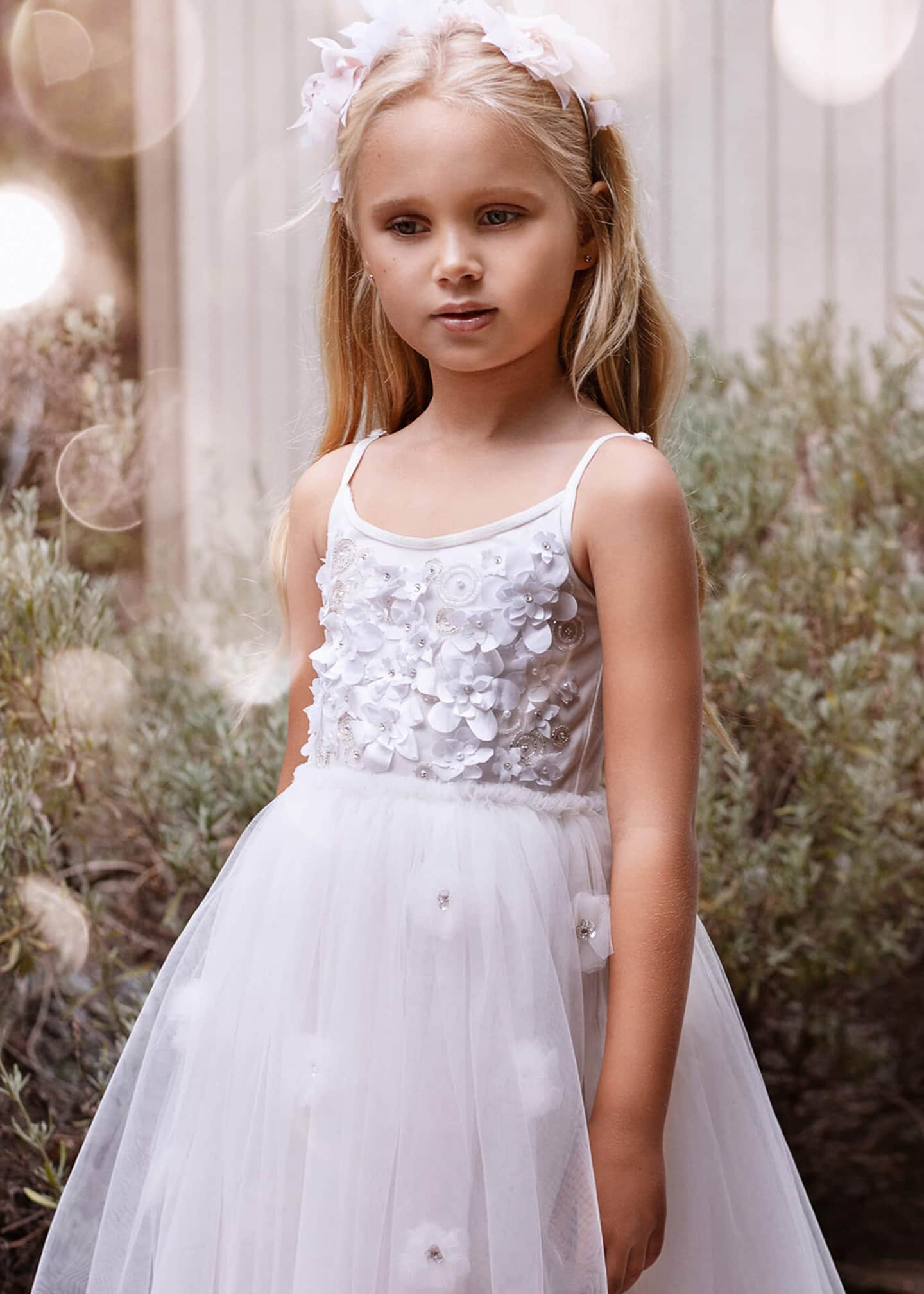 Image 2 of 3: Girl's Shimmering Petals Tulle Dress, Size 2-11