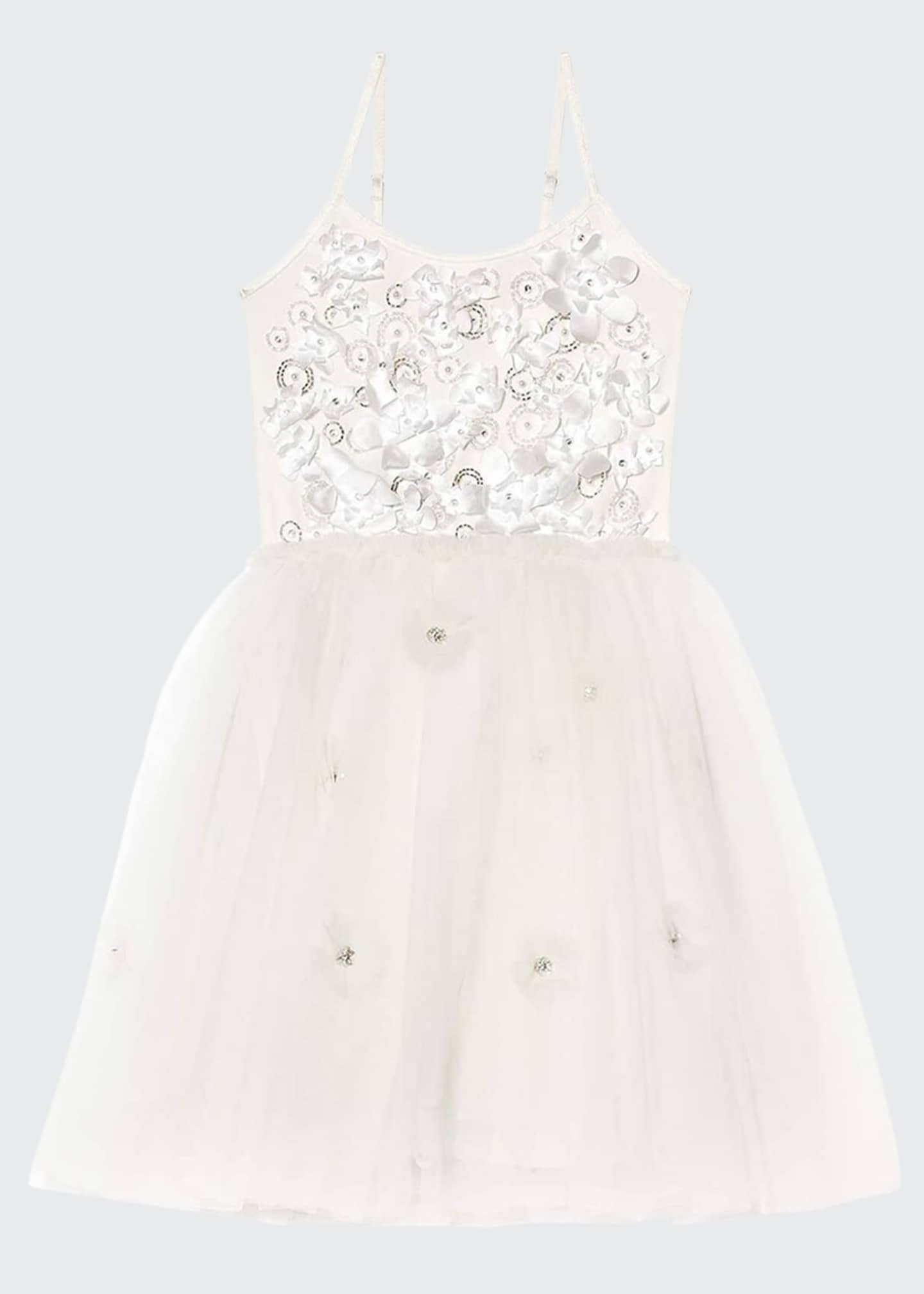 Image 1 of 3: Girl's Shimmering Petals Tulle Dress, Size 2-11