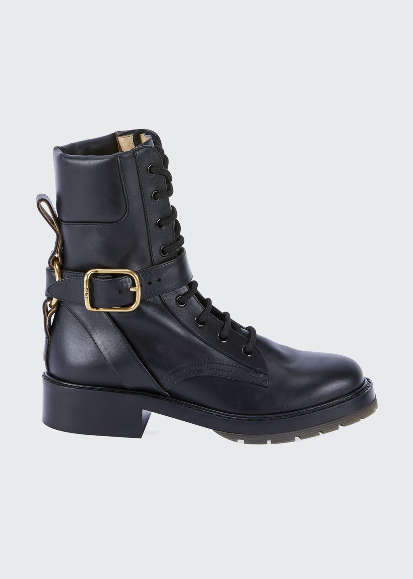 Diane Lace-Up Buckle Combat Booties