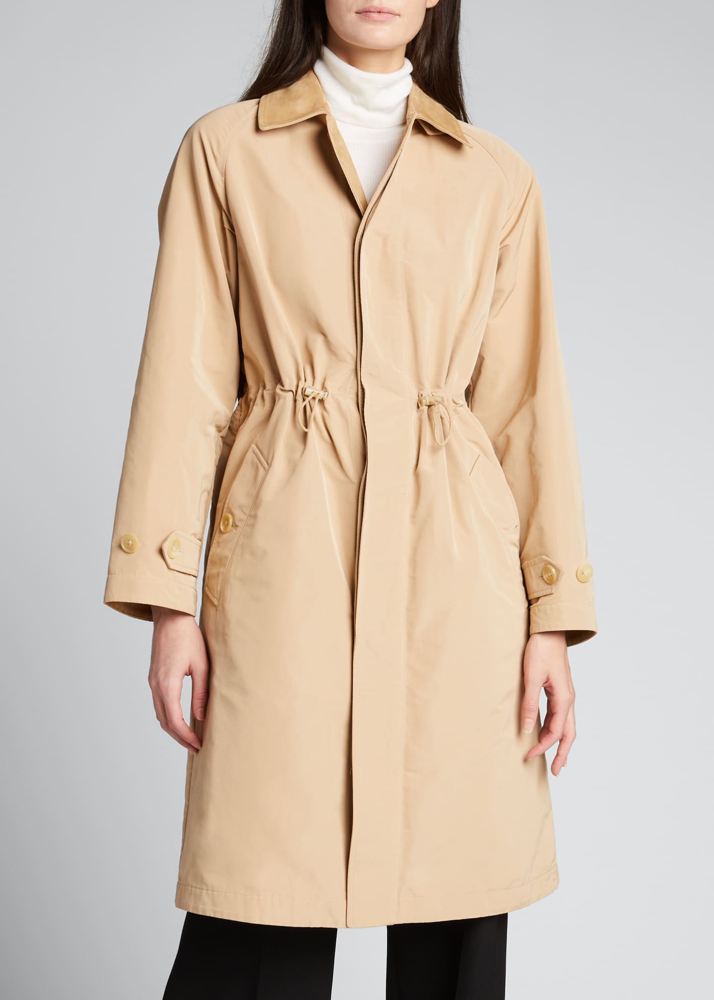 Image 3 of 4: Brecklin Suede-Trim Balmacaan Coat