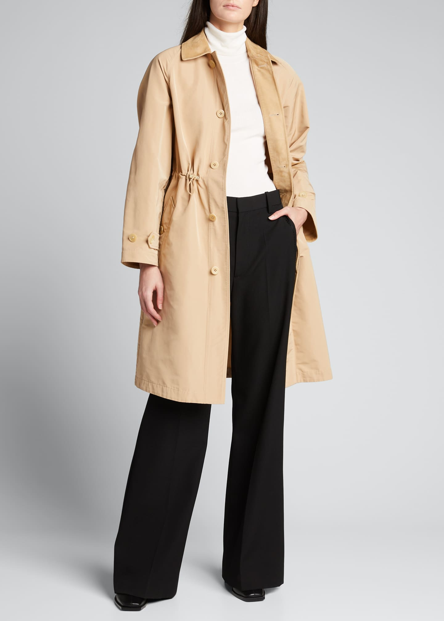 Image 1 of 4: Brecklin Suede-Trim Balmacaan Coat