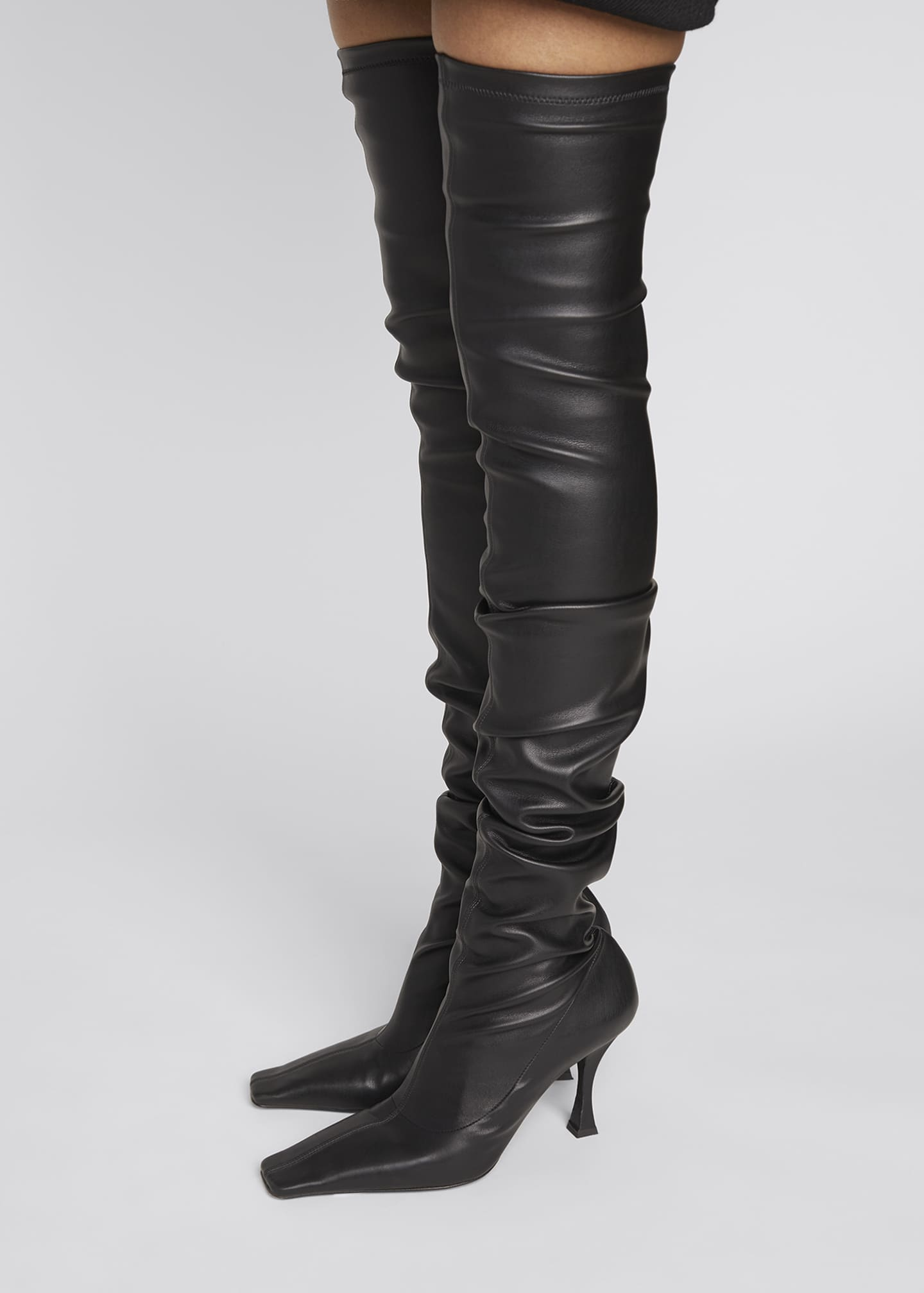 Image 2 of 4: 90mm Ruched Thigh-High Boots, Black