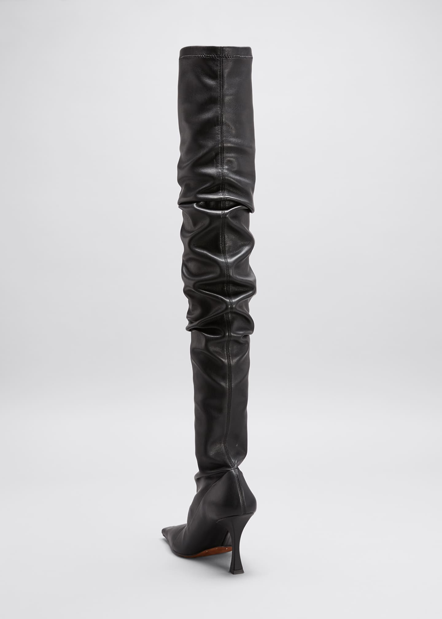 Image 3 of 4: 90mm Ruched Thigh-High Boots, Black