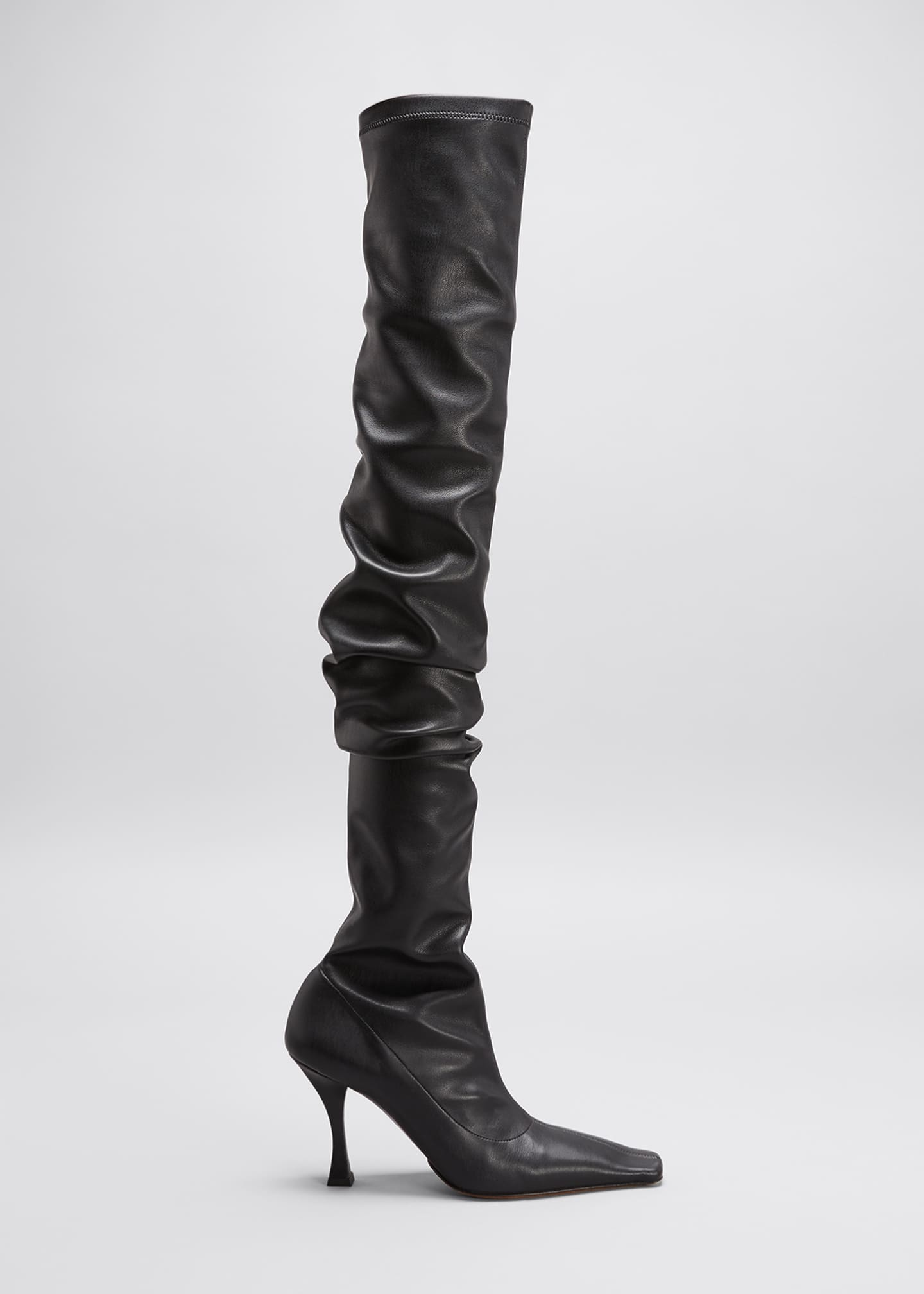 Image 1 of 4: 90mm Ruched Thigh-High Boots, Black