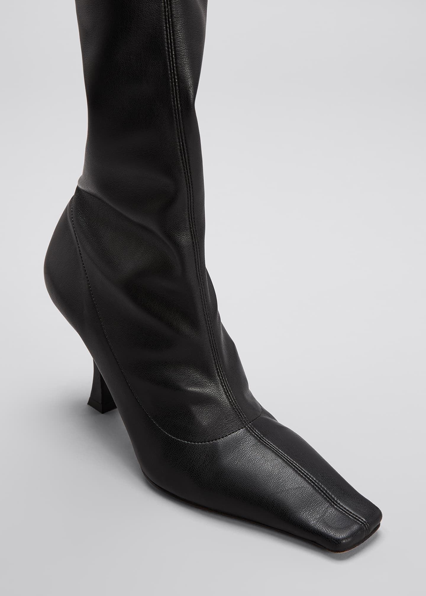 Image 4 of 4: 90mm Ruched Thigh-High Boots, Black