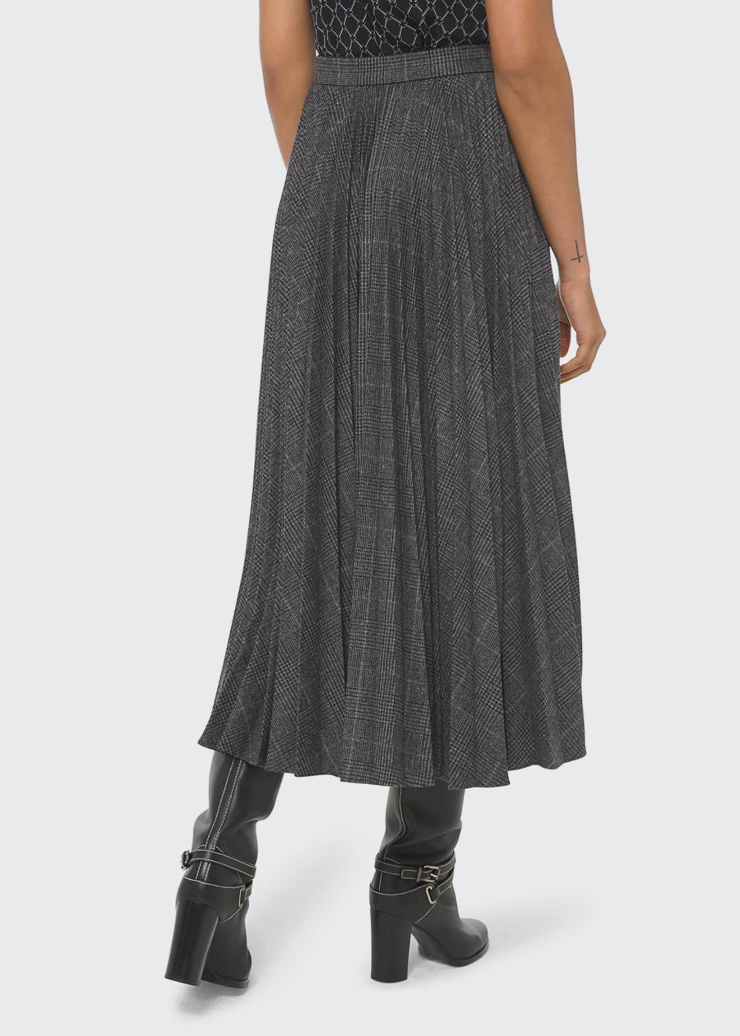 Image 2 of 2: Check Pleated Flare Skirt