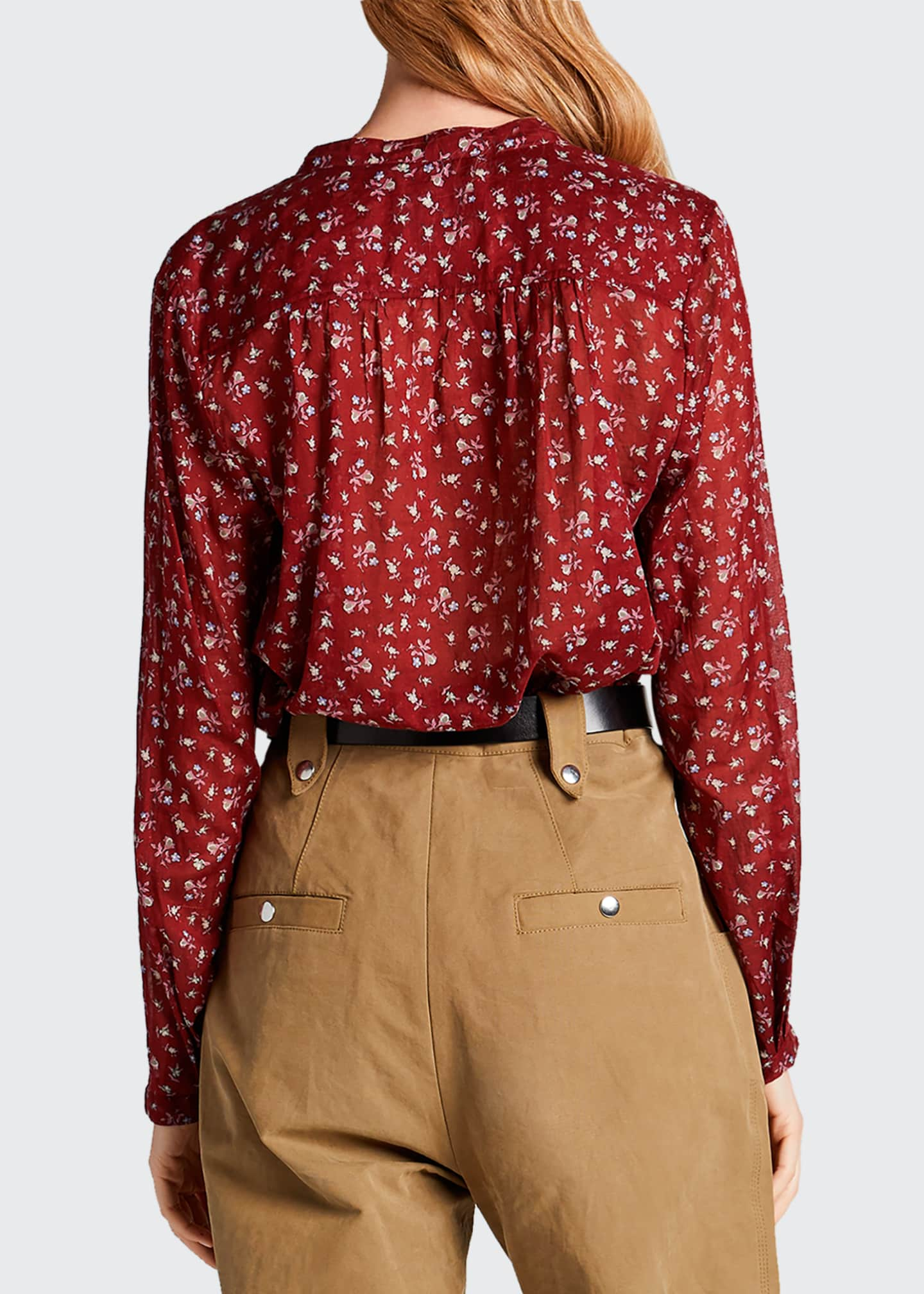 Image 2 of 2: Maria Cotton Floral Long-Sleeve Blouse