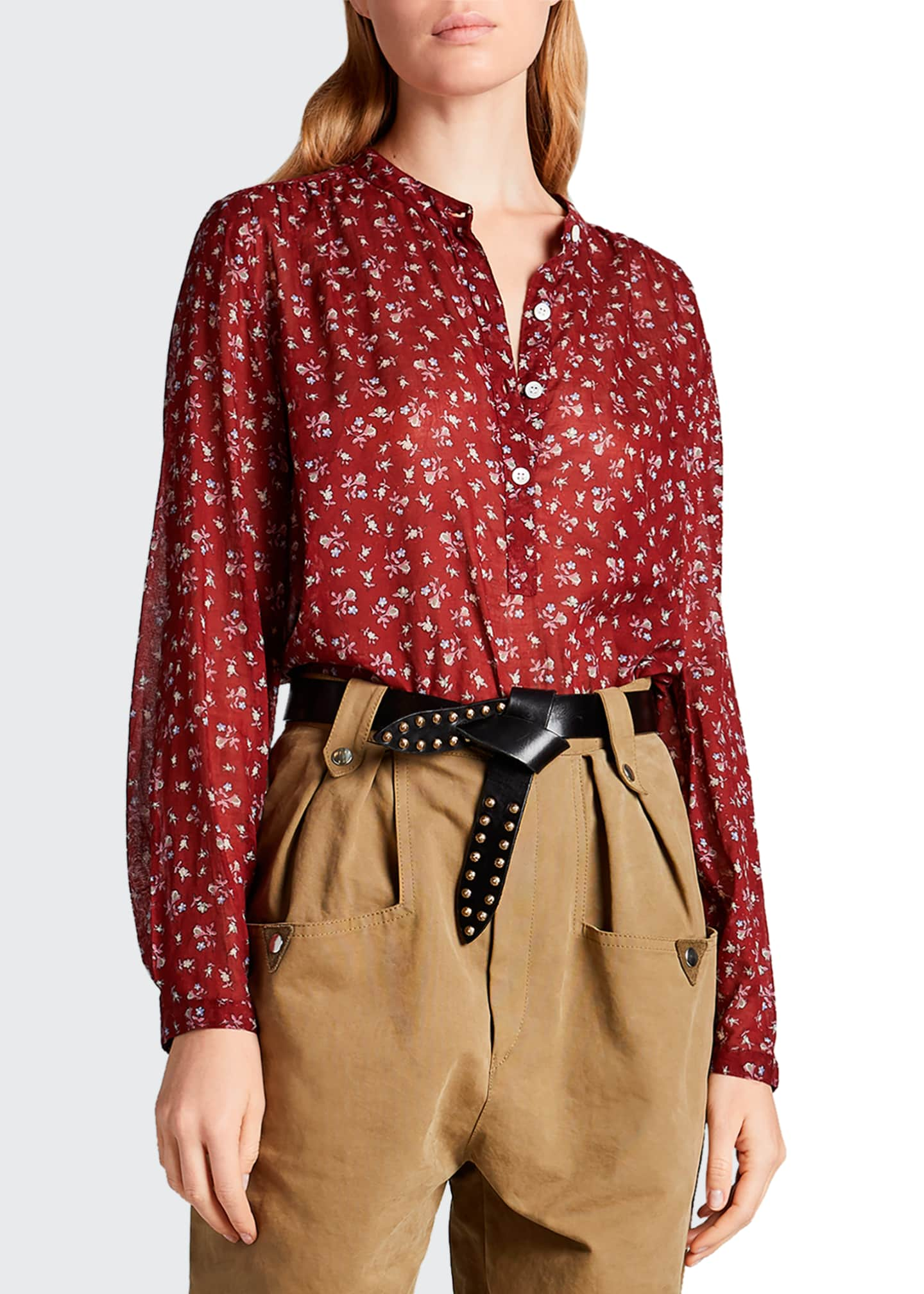 Image 1 of 2: Maria Cotton Floral Long-Sleeve Blouse