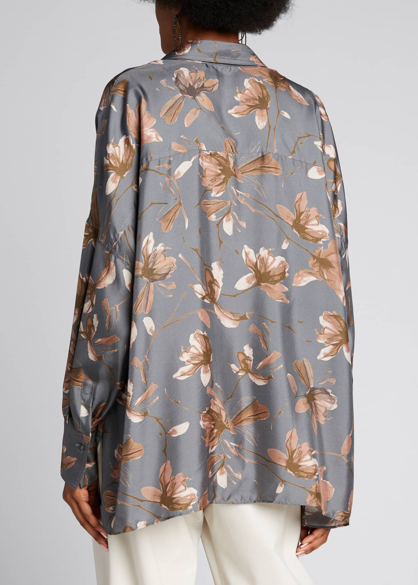 Image 2 of 5: Floral-Print Silk Button-Down Blouse