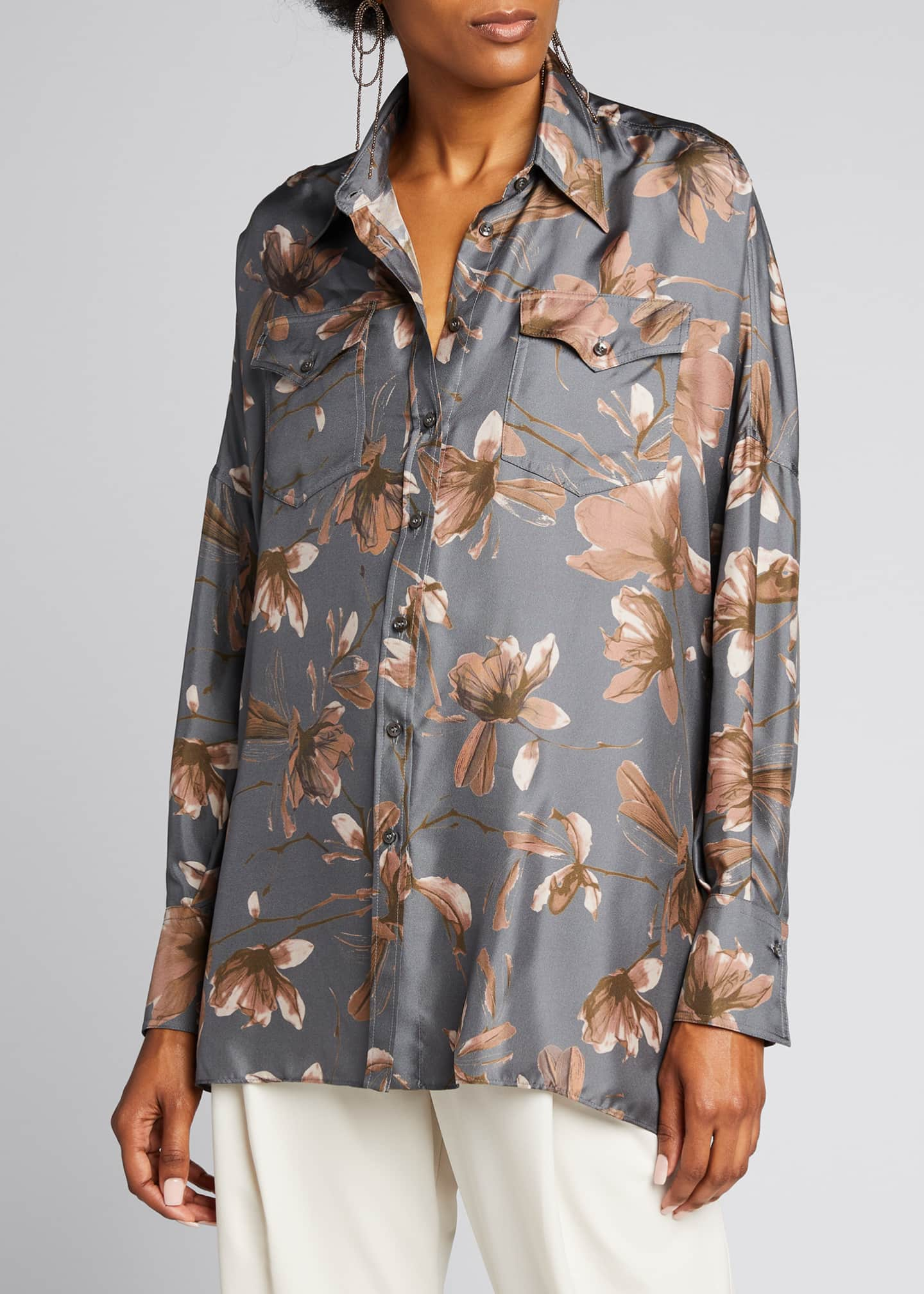 Image 3 of 5: Floral-Print Silk Button-Down Blouse