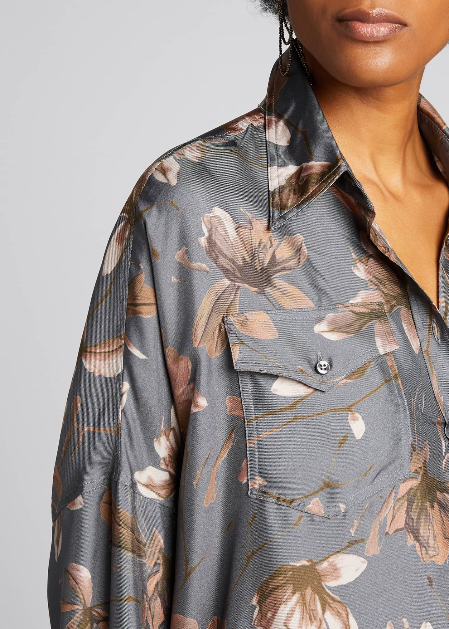 Image 4 of 5: Floral-Print Silk Button-Down Blouse
