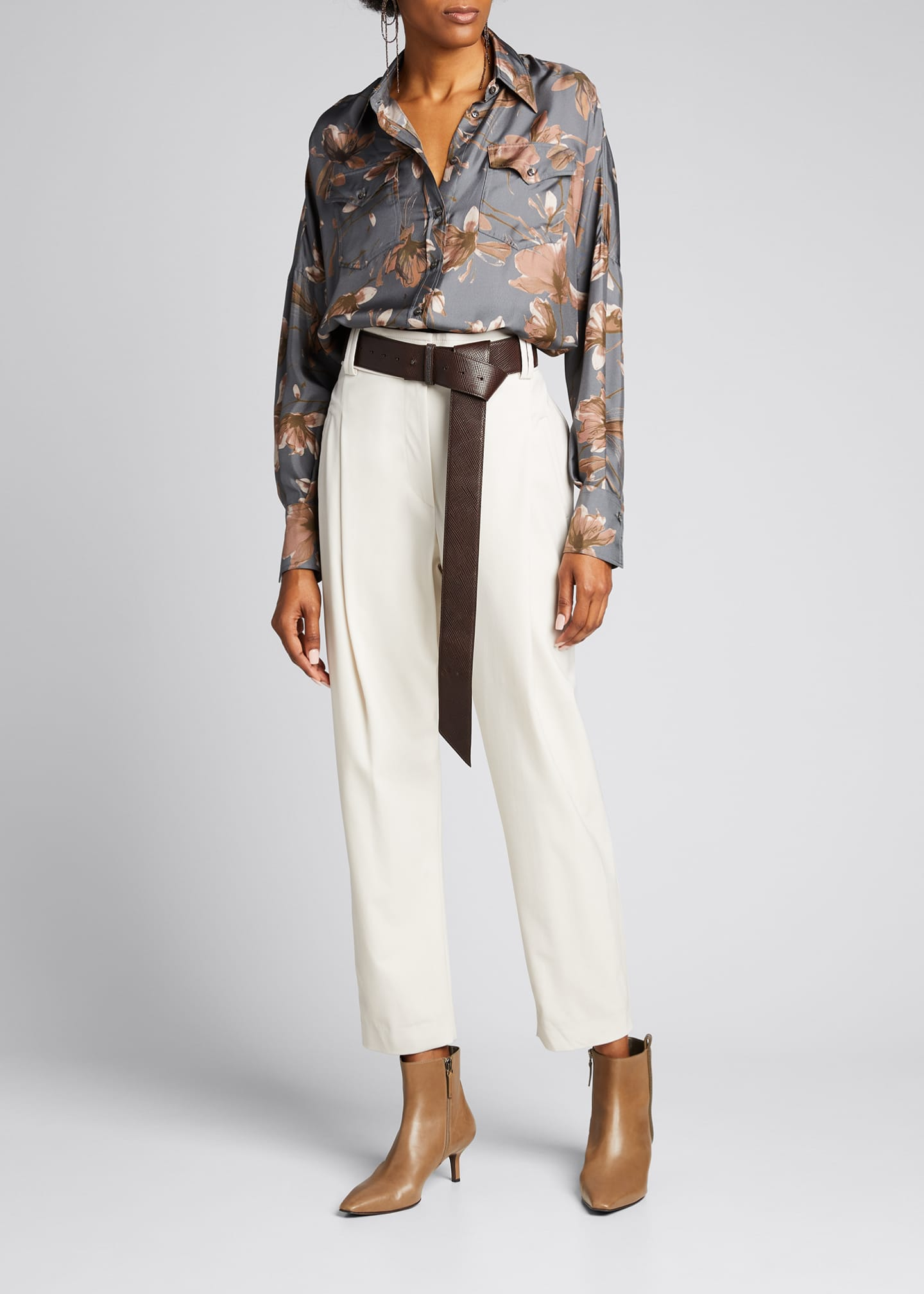 Image 1 of 5: Floral-Print Silk Button-Down Blouse