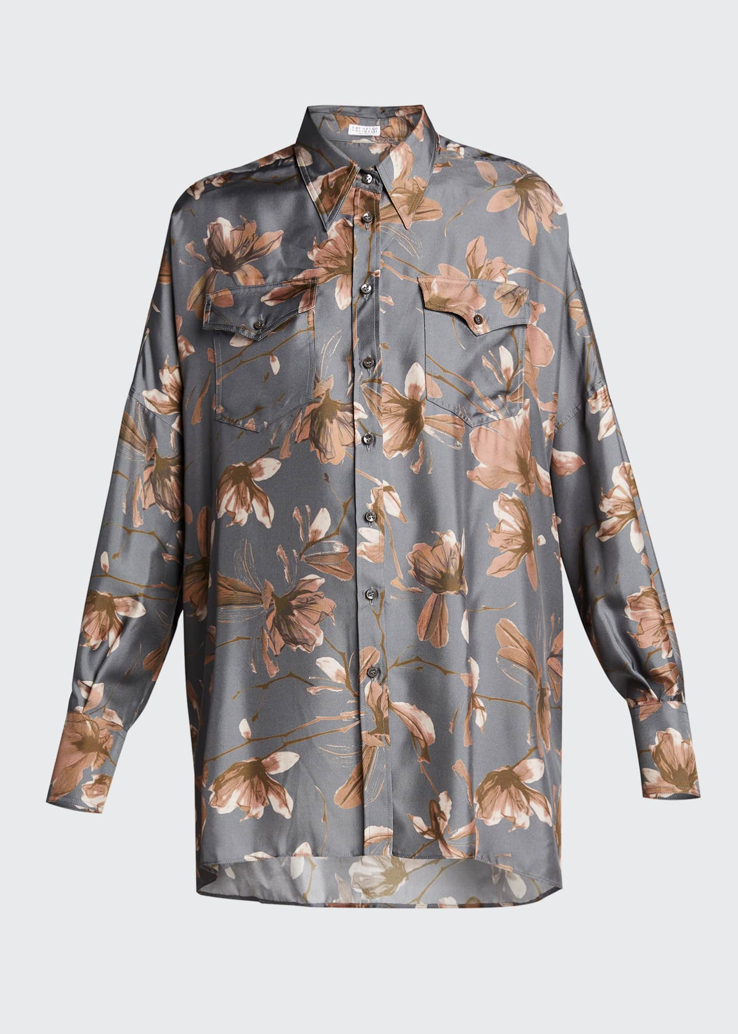 Image 5 of 5: Floral-Print Silk Button-Down Blouse