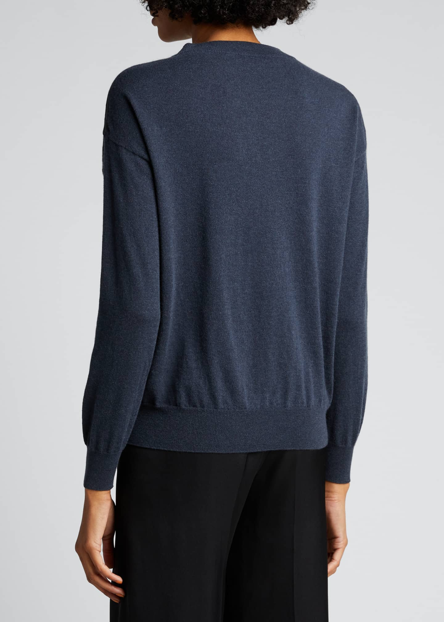 Image 2 of 5: Lightweight Cashmere Sweater with Monili Trim