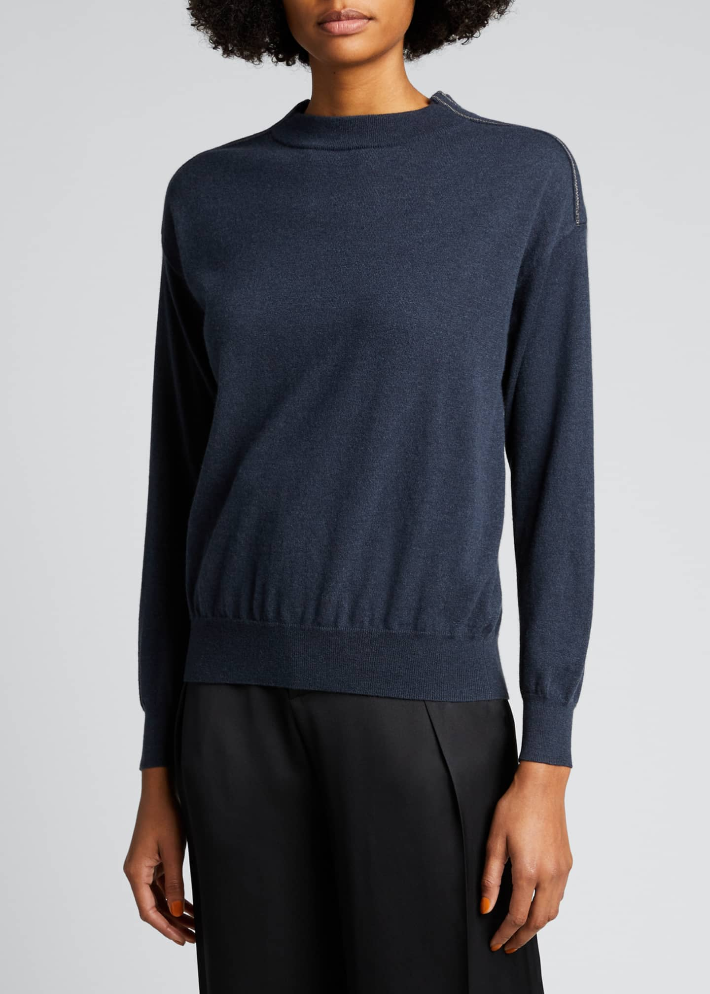 Image 3 of 5: Lightweight Cashmere Sweater with Monili Trim