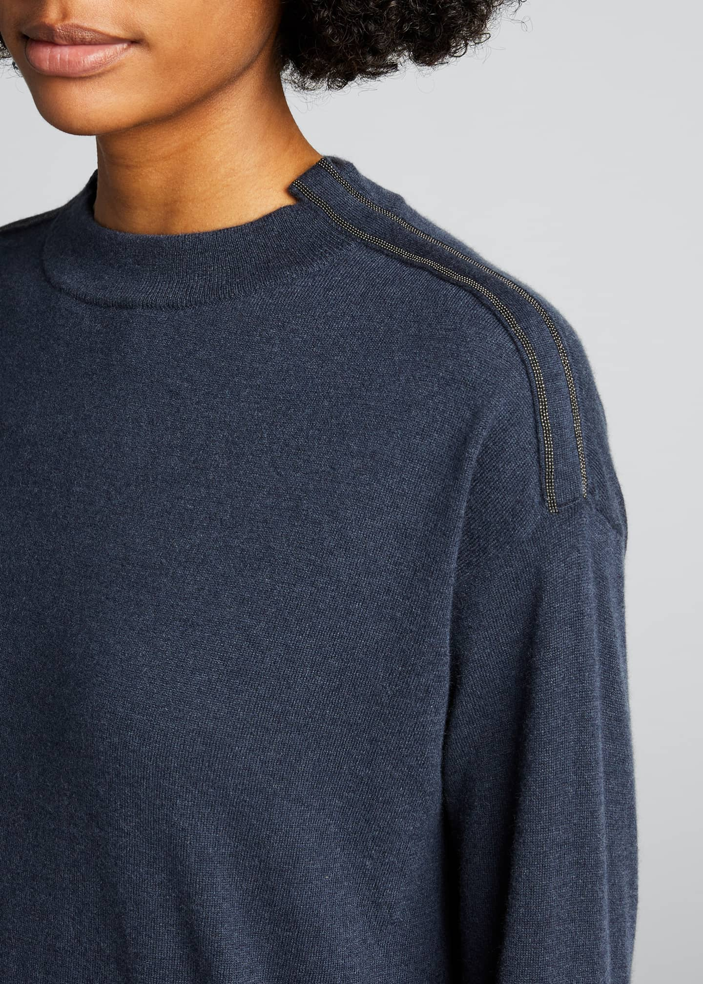Image 4 of 5: Lightweight Cashmere Sweater with Monili Trim