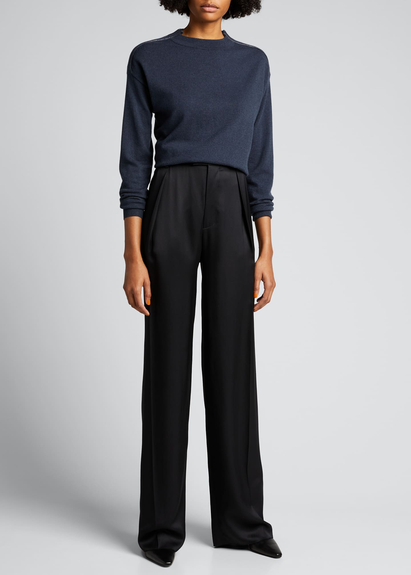 Image 1 of 5: Lightweight Cashmere Sweater with Monili Trim