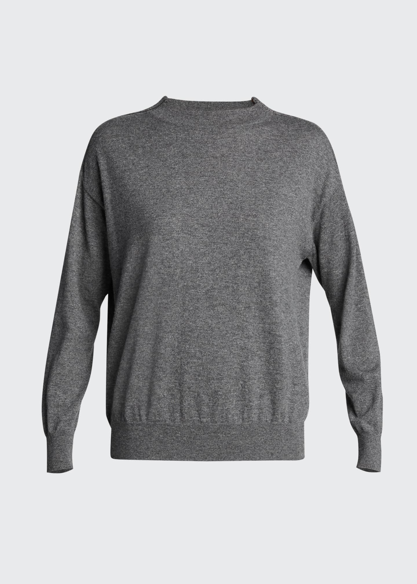 Image 5 of 5: Lightweight Cashmere Sweater with Monili Trim