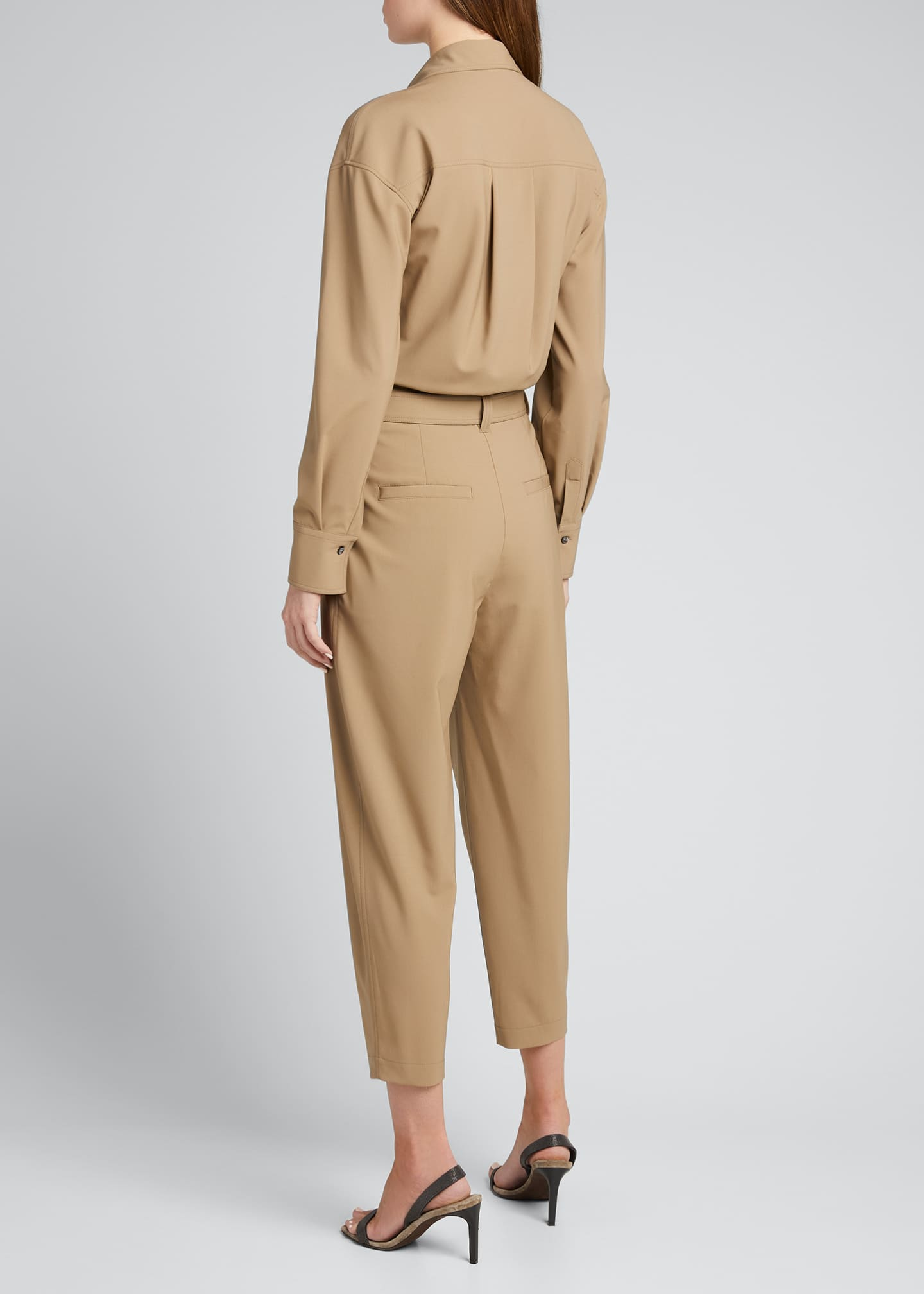 Image 2 of 5: Wool Belted Cropped Jumpsuit