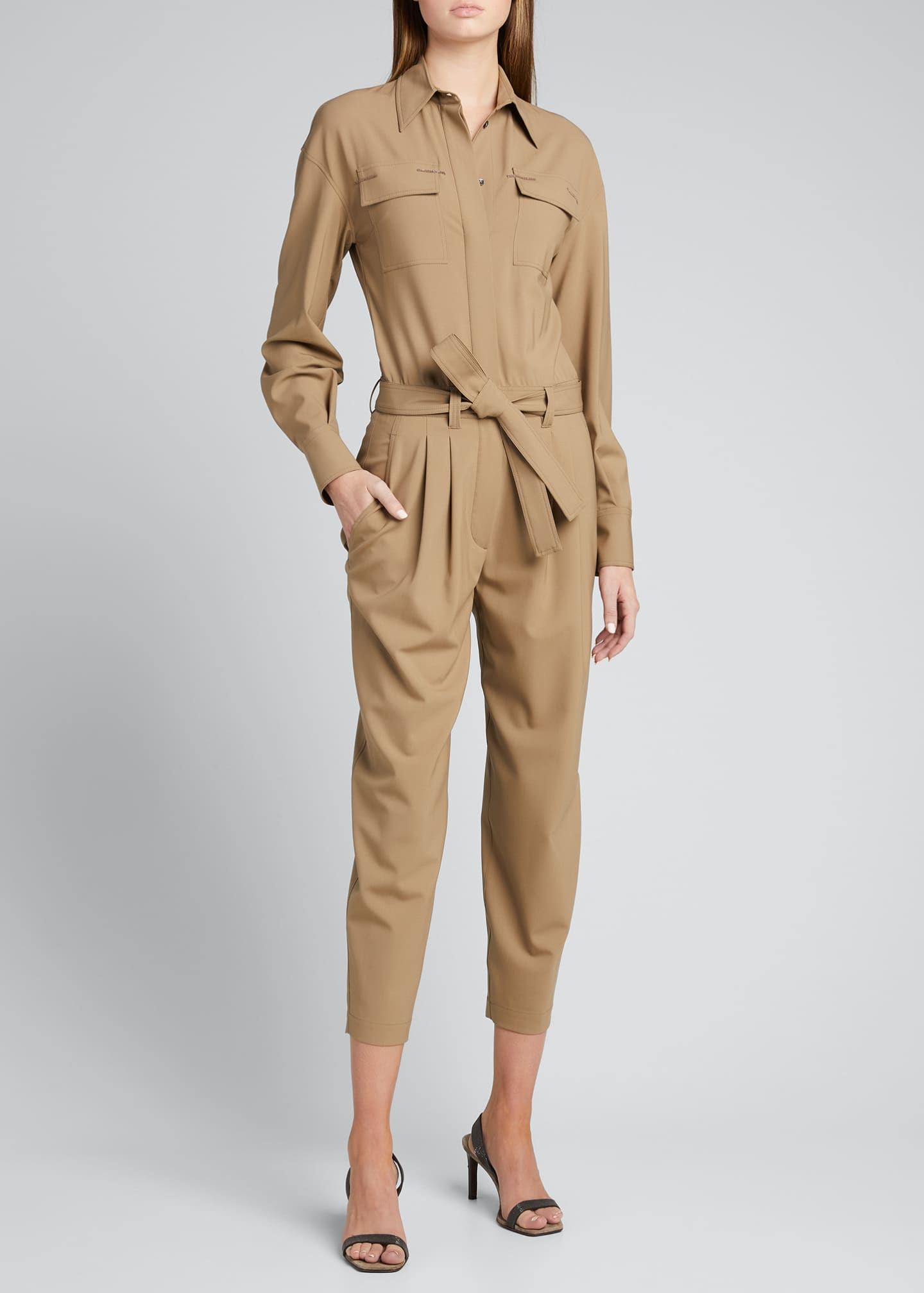 Image 3 of 5: Wool Belted Cropped Jumpsuit