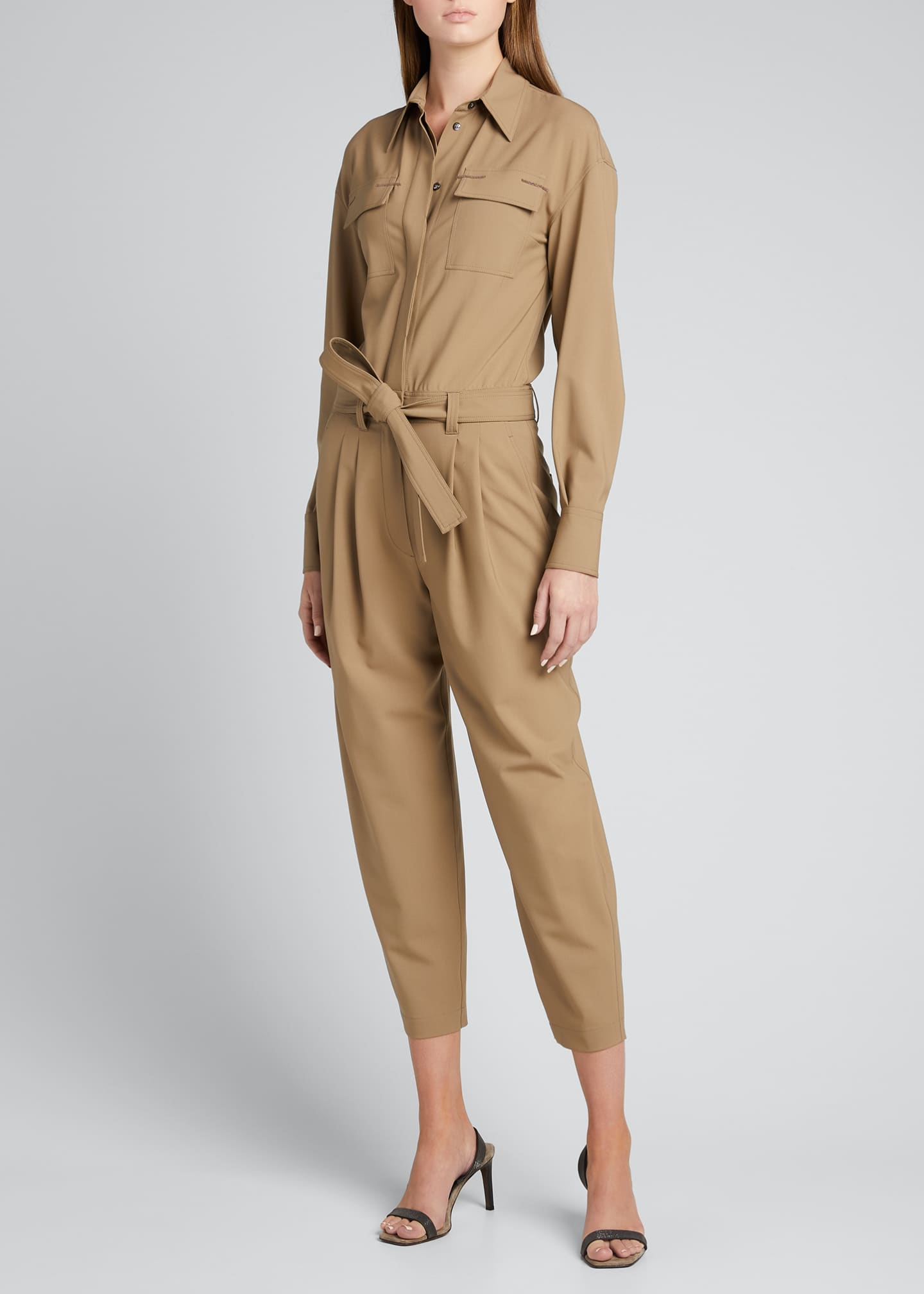 Image 1 of 5: Wool Belted Cropped Jumpsuit