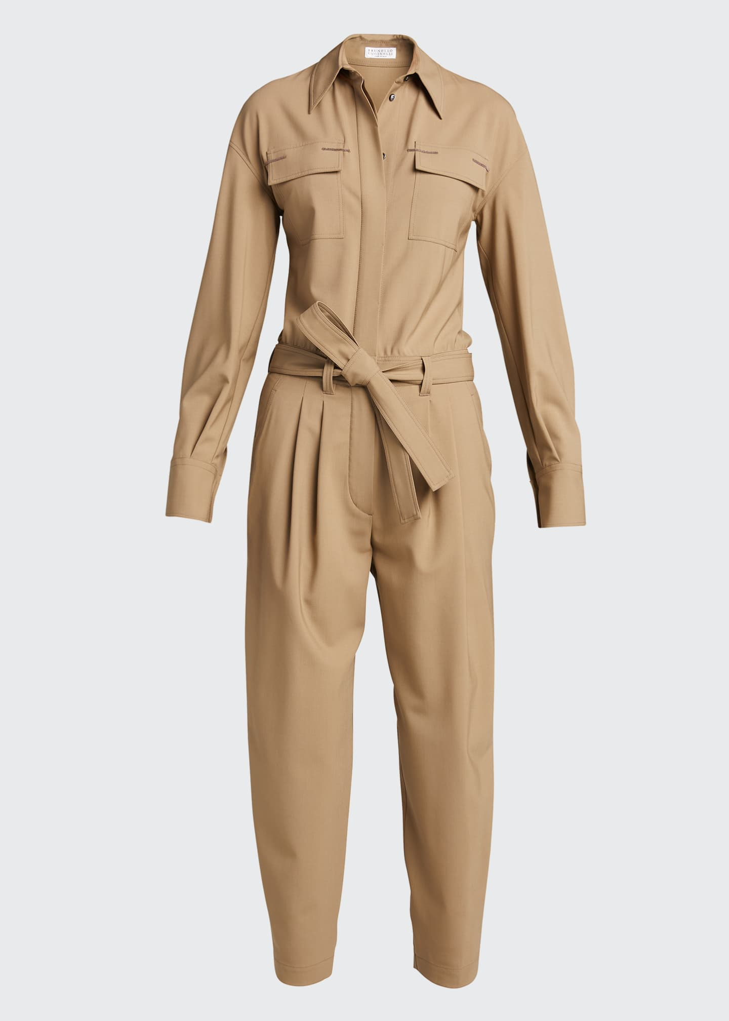 Image 5 of 5: Wool Belted Cropped Jumpsuit