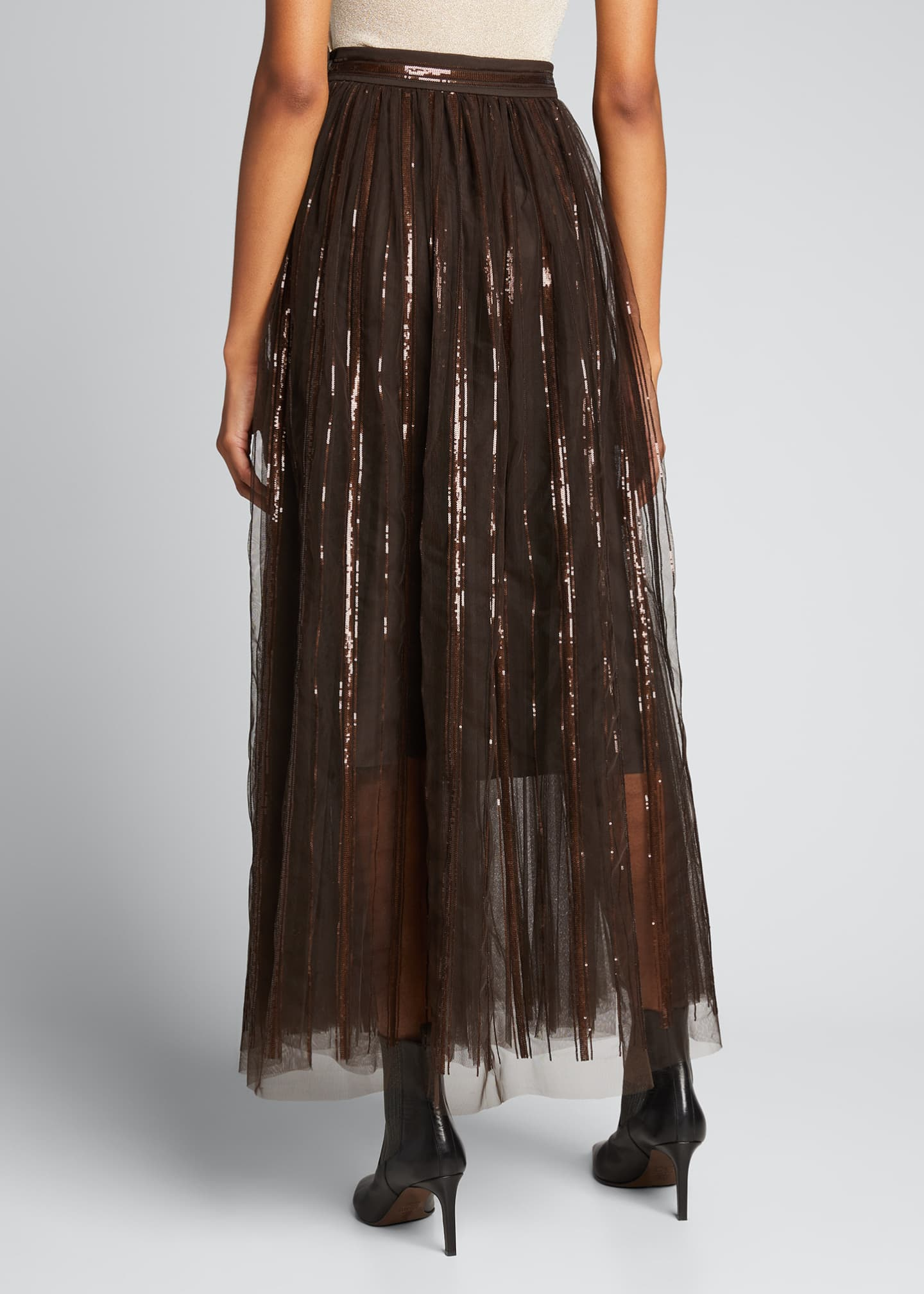 Image 2 of 5: Floral Embroidered Tulle Skirt with Leather Belt