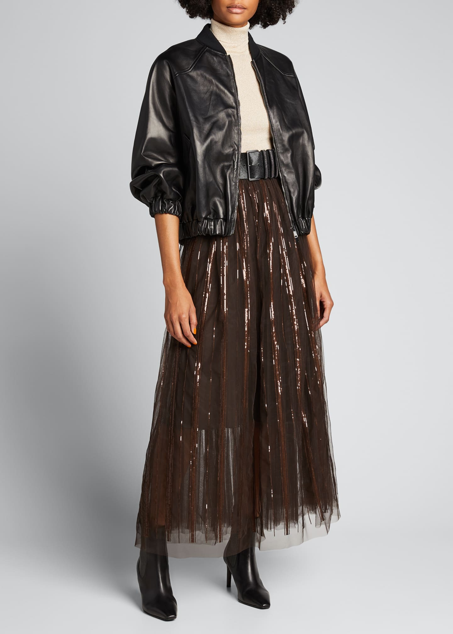 Image 1 of 5: Floral Embroidered Tulle Skirt with Leather Belt