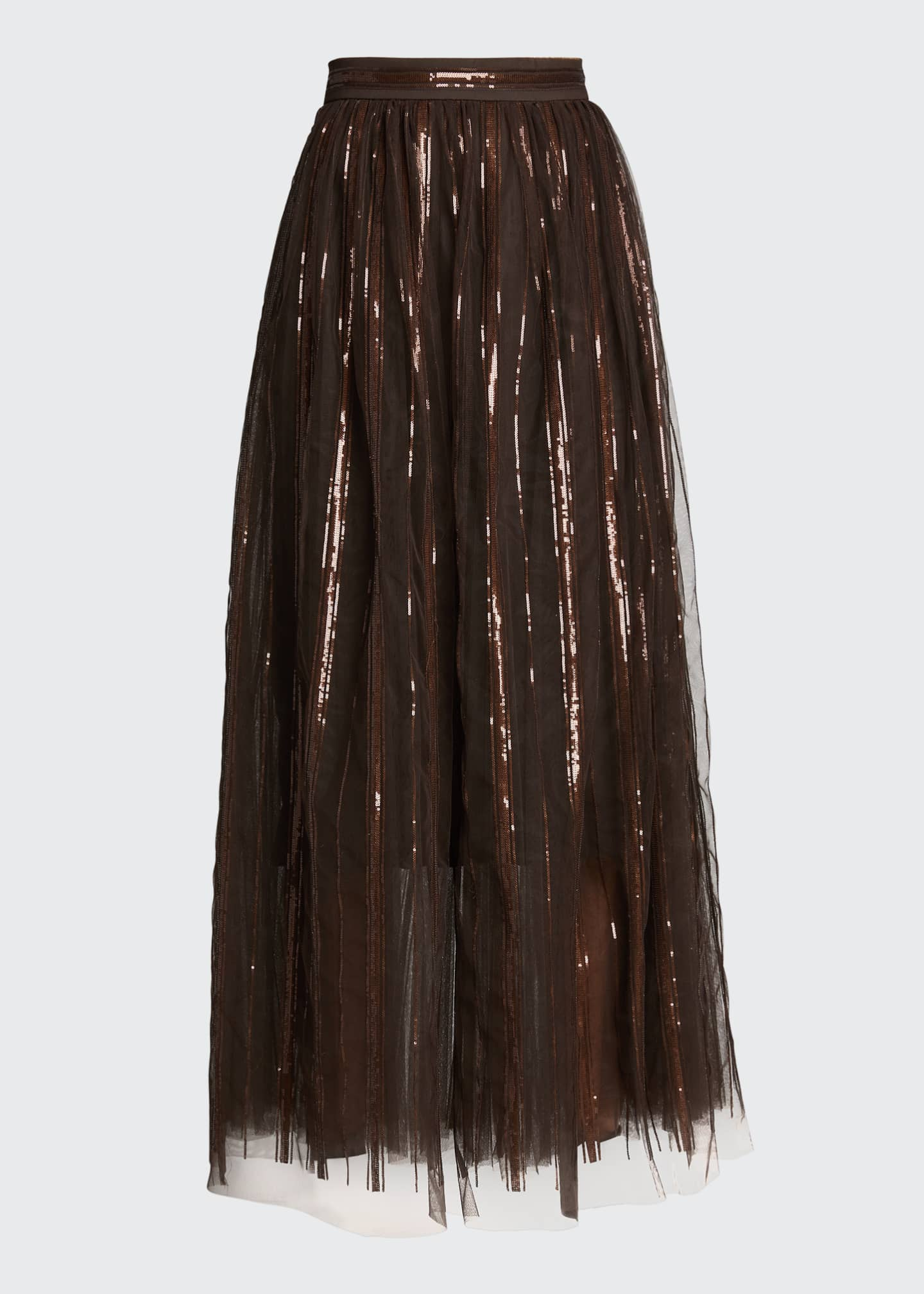 Image 5 of 5: Floral Embroidered Tulle Skirt with Leather Belt
