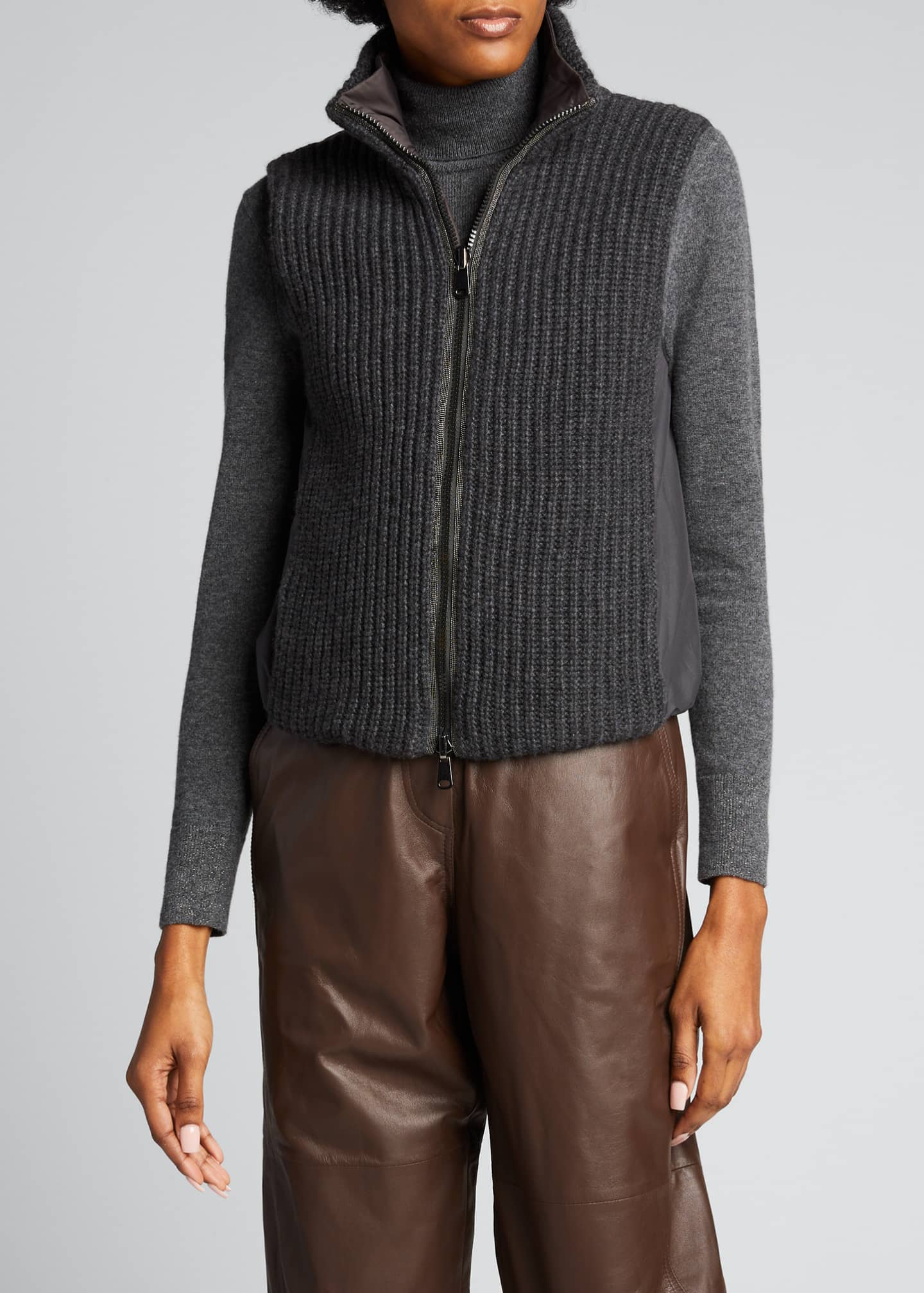 Image 3 of 5: Rib Knit & Quilted Cashmere Reversible Vest